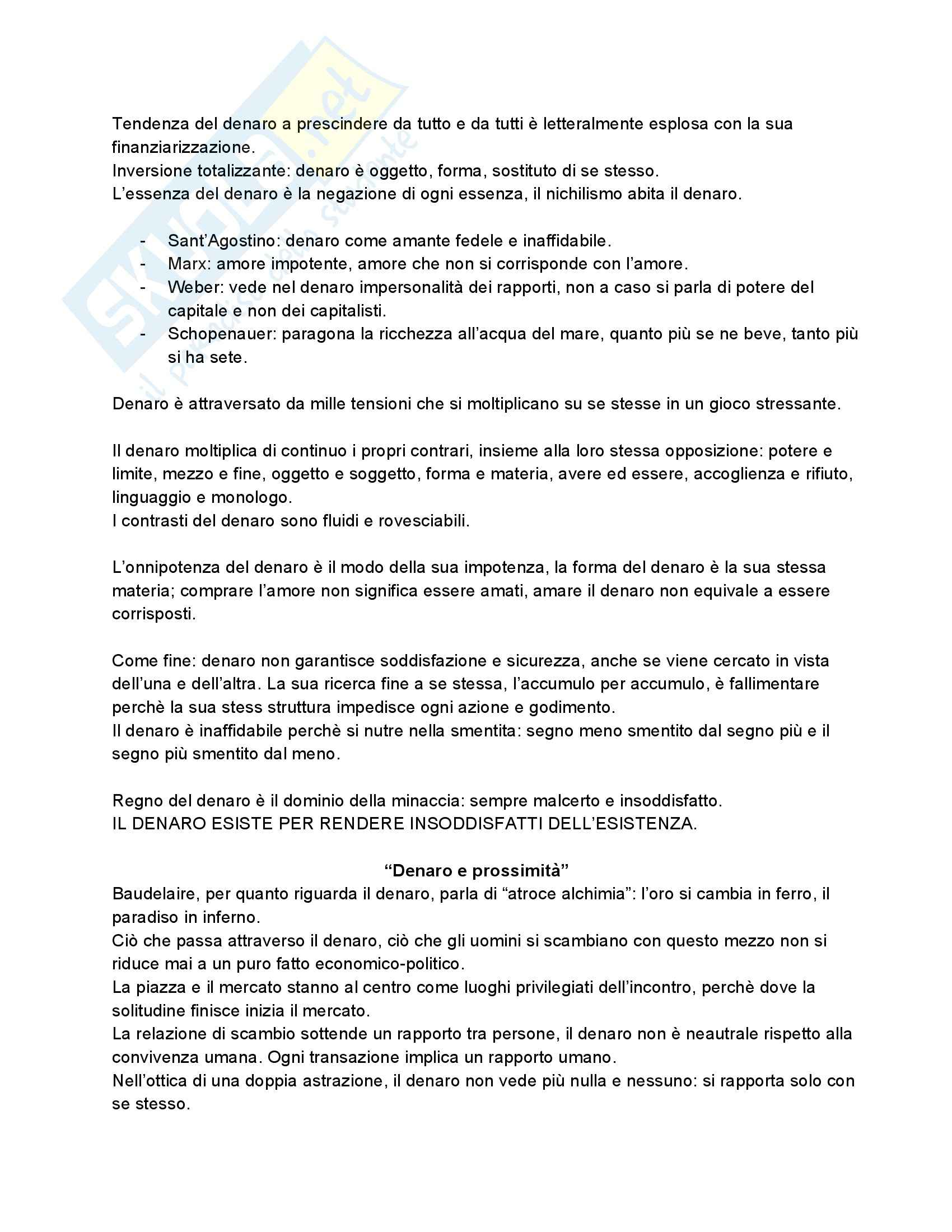 Riassunto esame Etica, prof. Riva, libro consigliato Come il fuoco. Uomo e Denaro Pag. 11