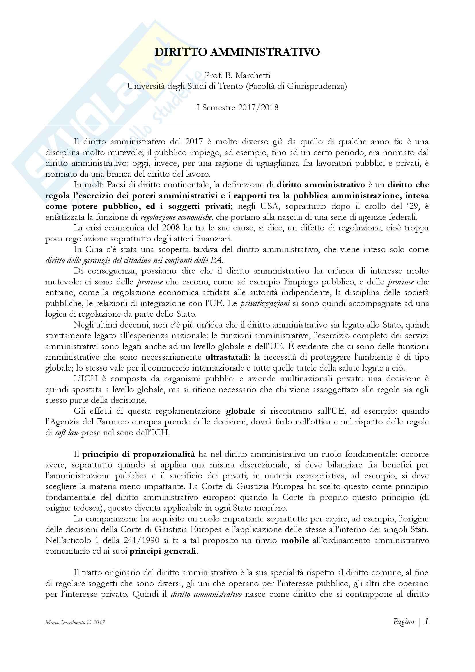 Diritto amministrativo - Appunti Prof. Marchetti