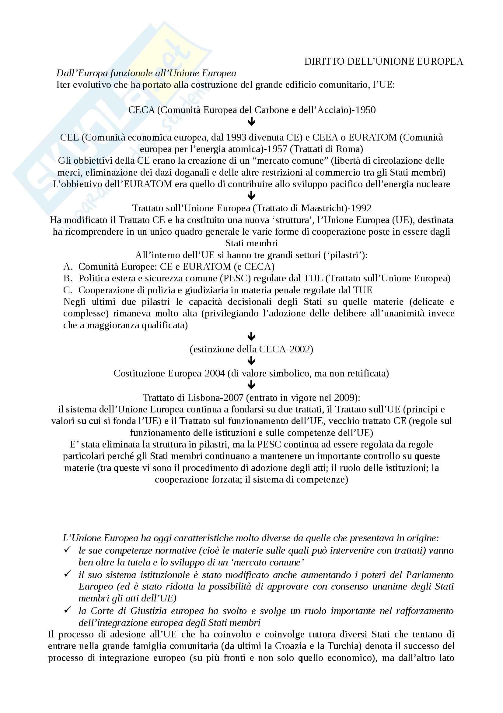 Riassunto esame Diritto dell'Unione Europea, prof. Gestri, libro consigliato Introduzione al diritto dell'Unione Europea, Adinolfi, Gaja