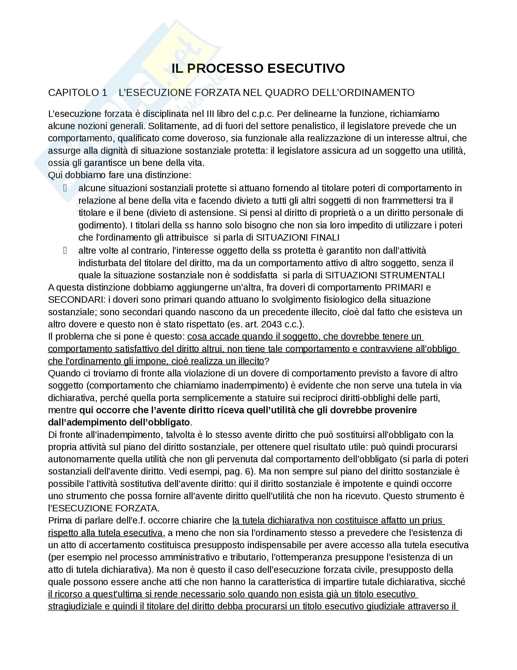 Riassunto sul processo esecutivo, per la preparazione dell'esame di procedura civile, testo di riferimento Diritto processuale civile, Luiso, vol. 3 Pag. 1