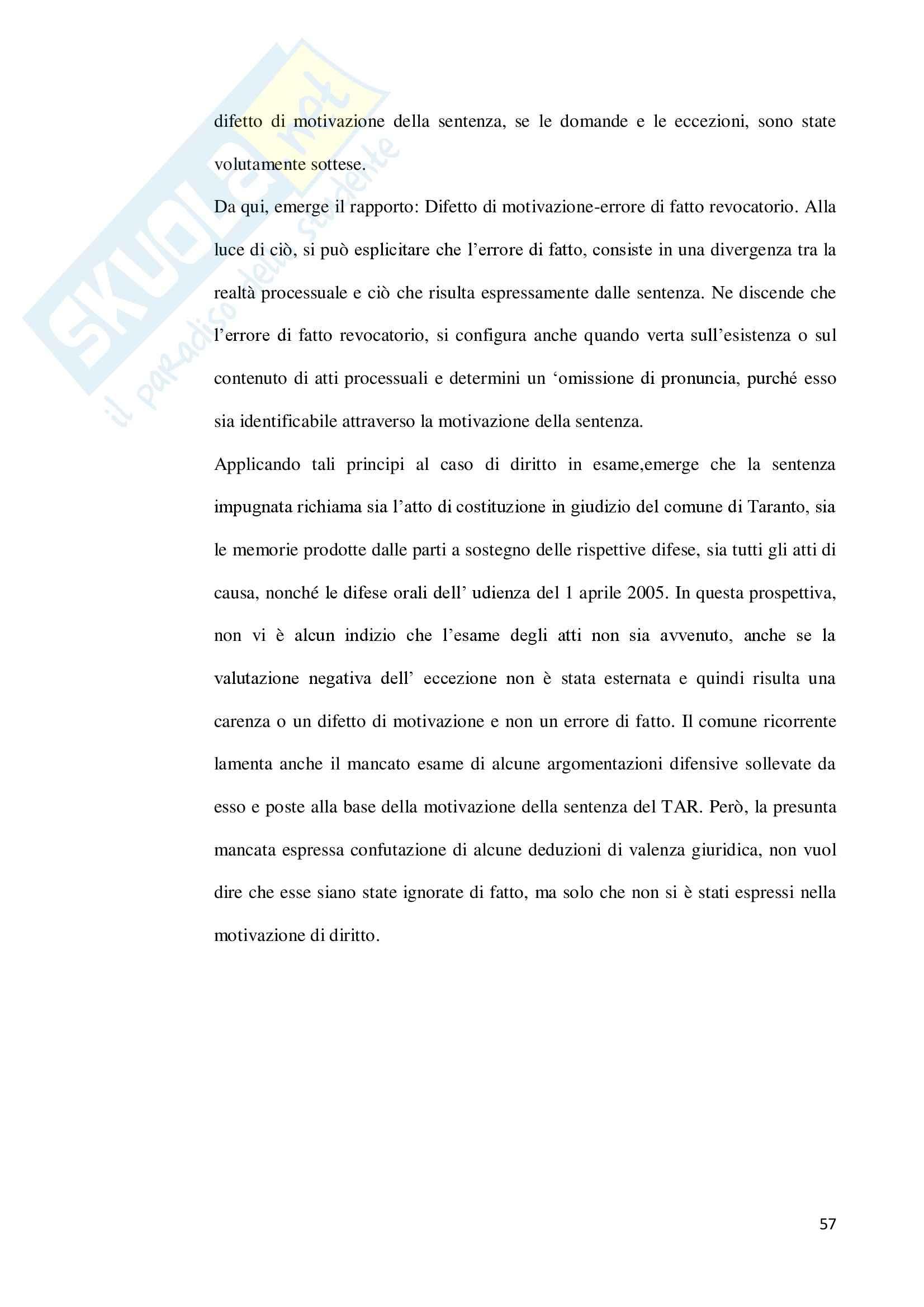 Revocazione per errore di fatto ricadente sugli atti processuali - Capitolo III Pag. 6