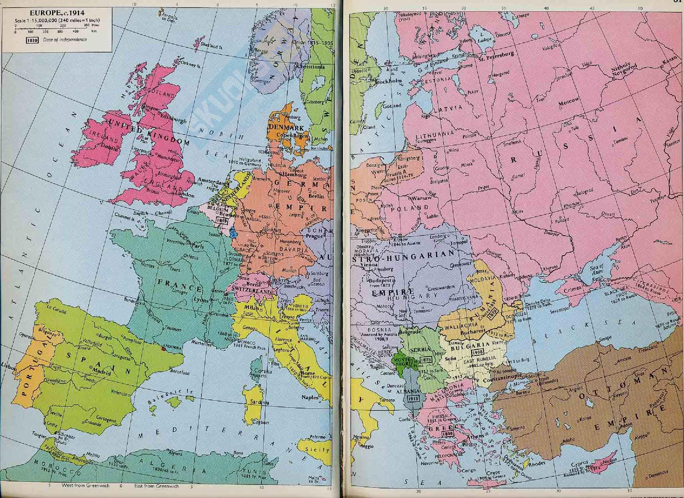 Prima Guerra Mondiale - Europa nel 1914, mappa storica