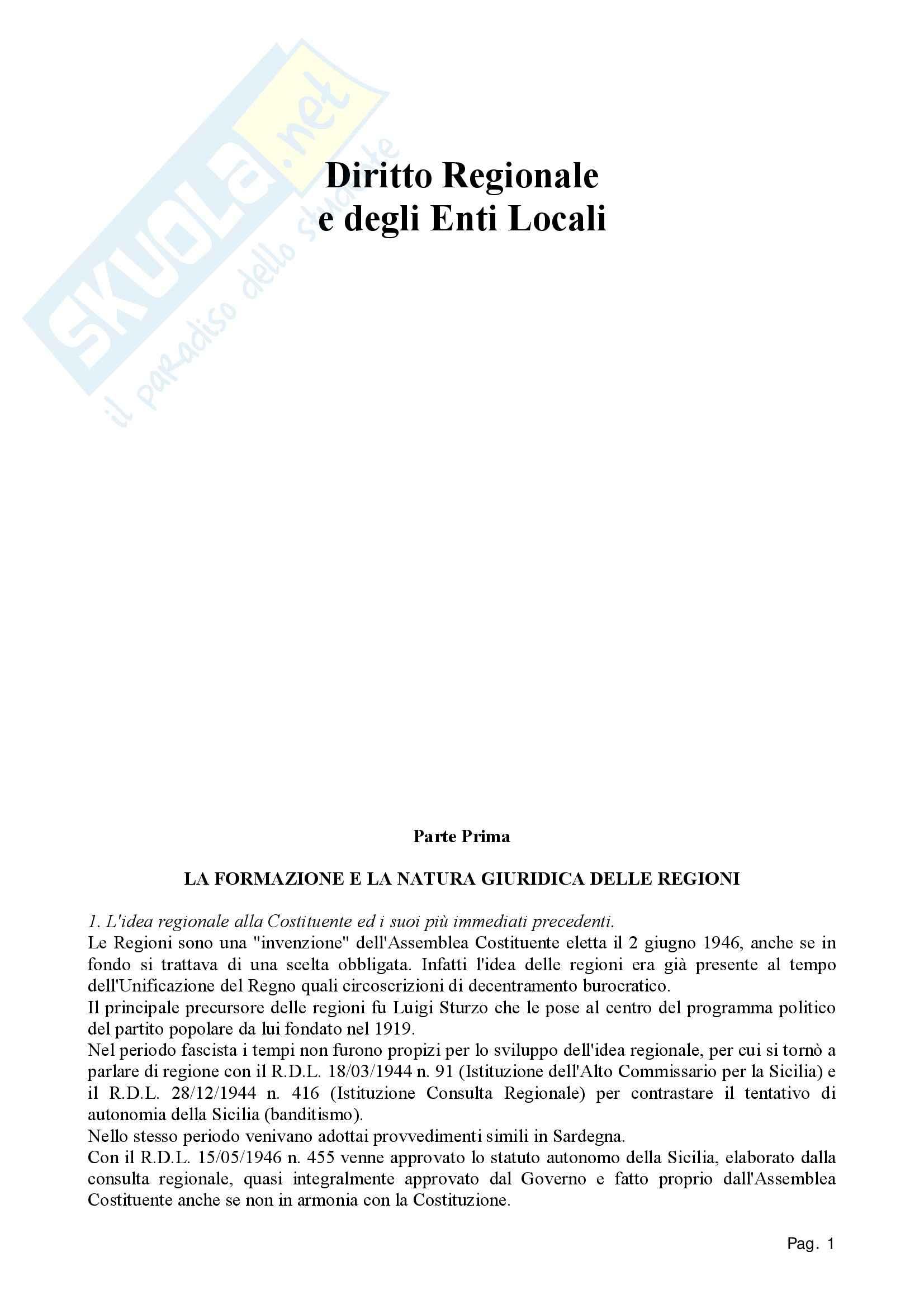 Diritto regionale - Appunti