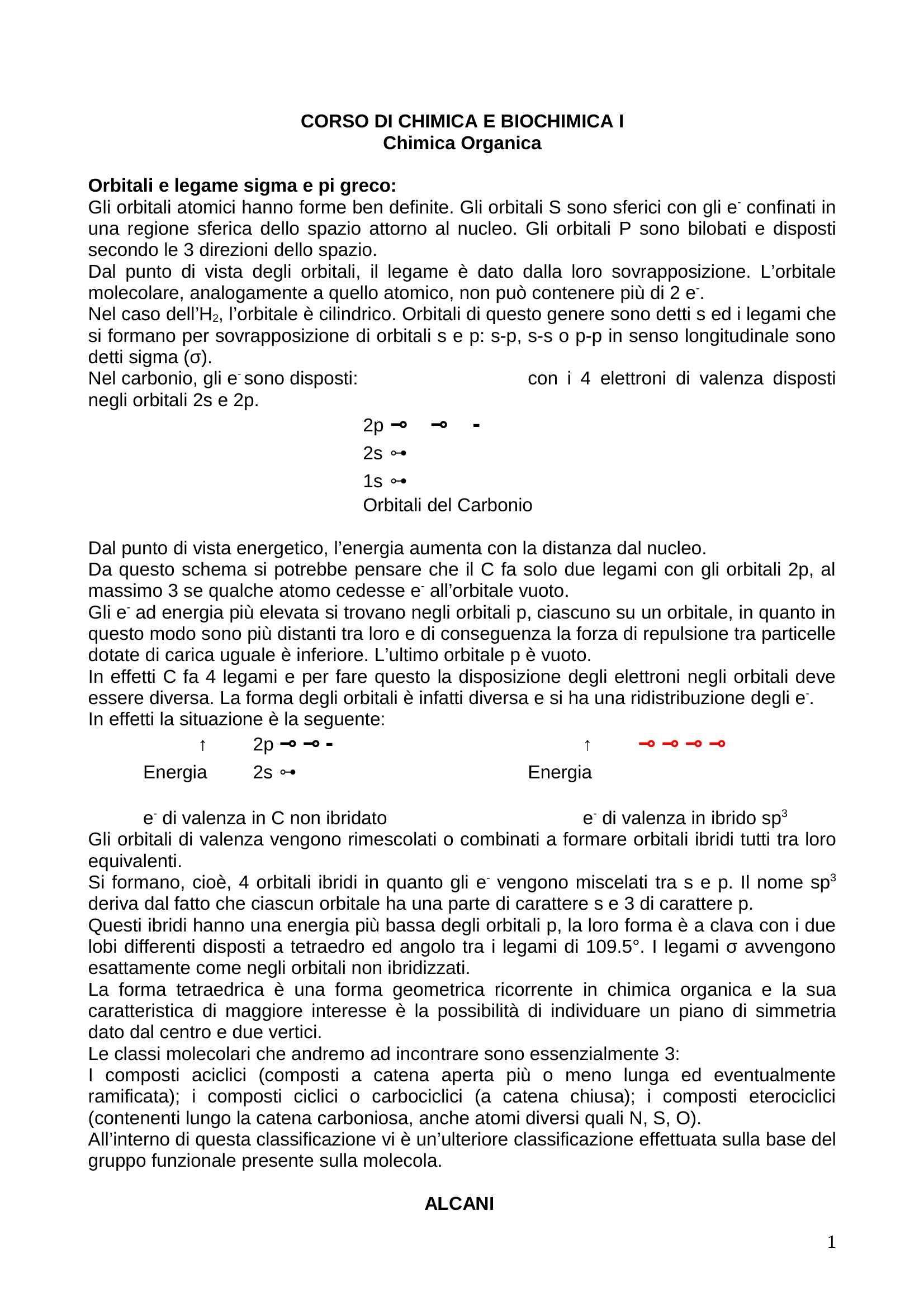 Chimica organica - Riassunto esame generale