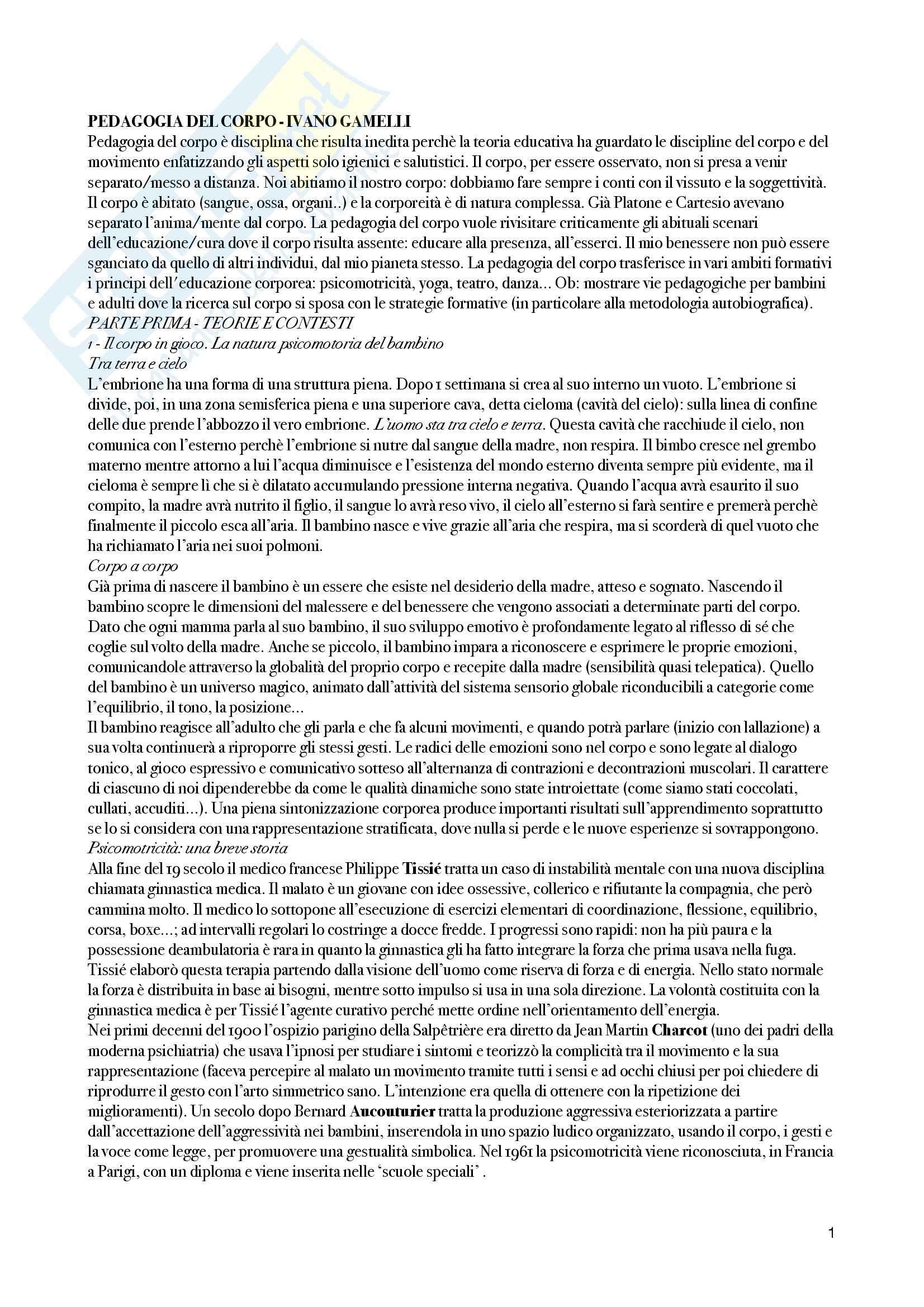 Riassunto esame Pedagogia del corpo, prof. Gamelli, libro consigliato Pedagogia del corpo