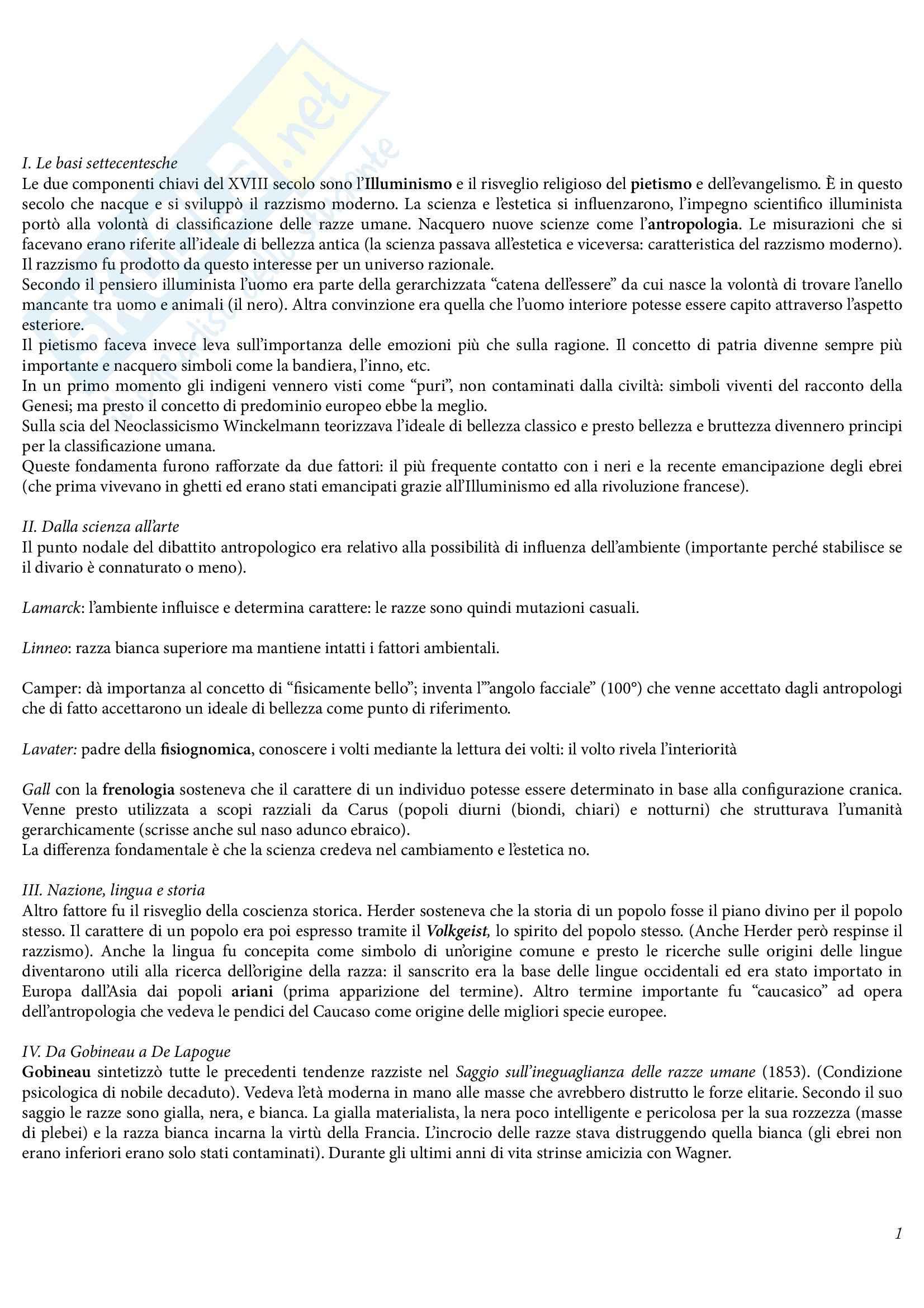 Riassunto esame Storia Contemporanea, prof. Malfitano, libro consigliato Il Razzismo in Europa, Mosse