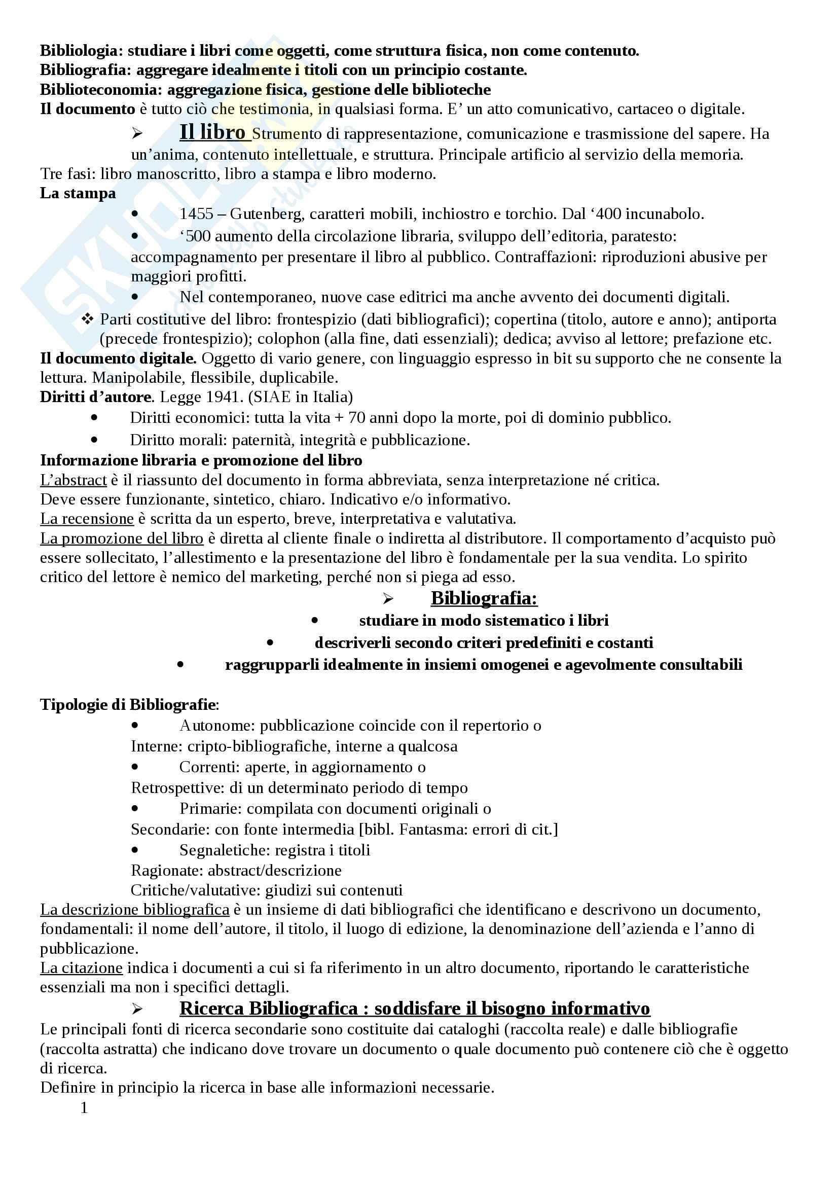 Riassunto esame Biblioteconomia e Bibliografia, prof. Di Domenico