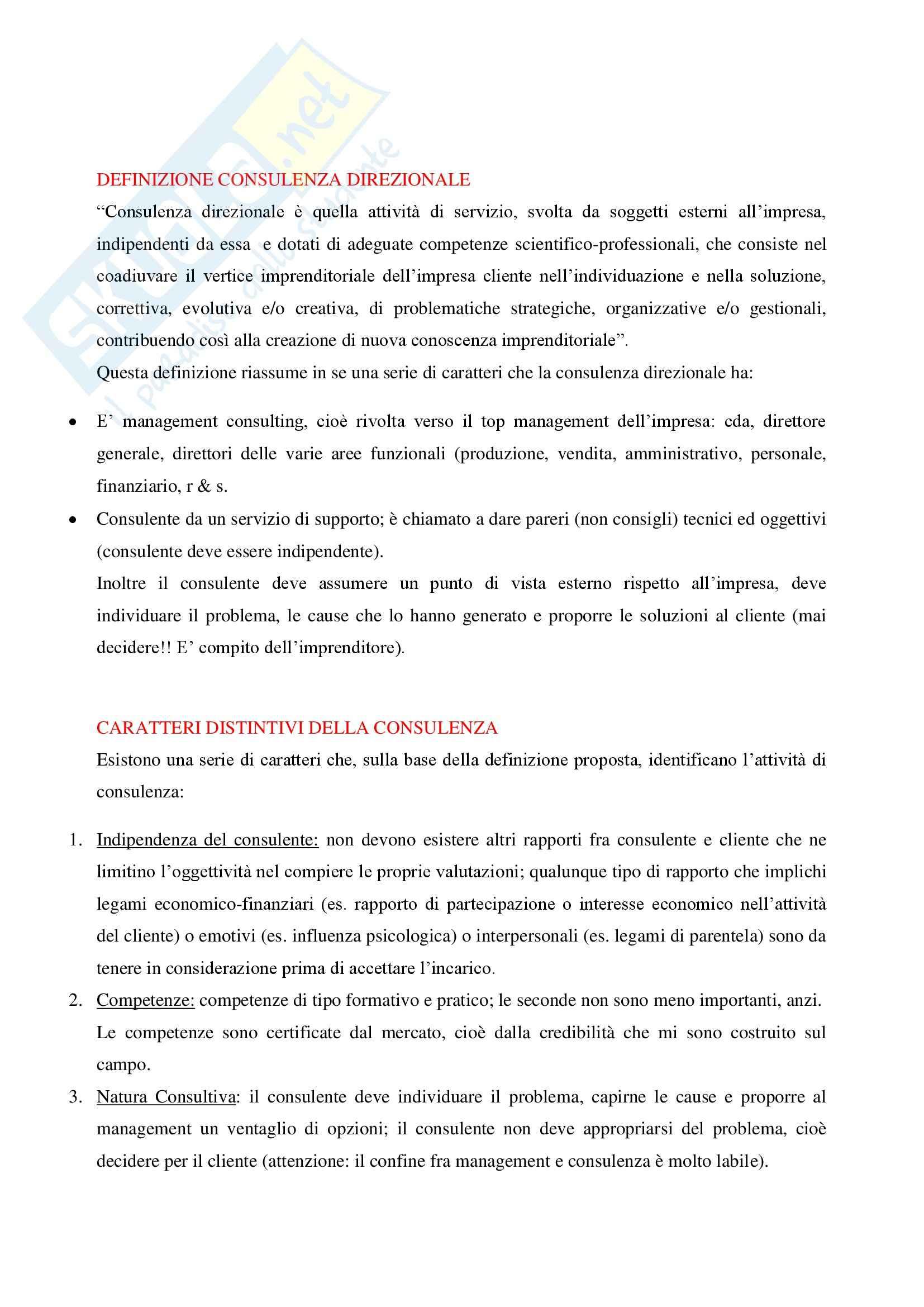 Riassunto esame Consulenza Direzionale, prof. Ciampi, libro consigliato Consulenza Direzionale di Ciampi