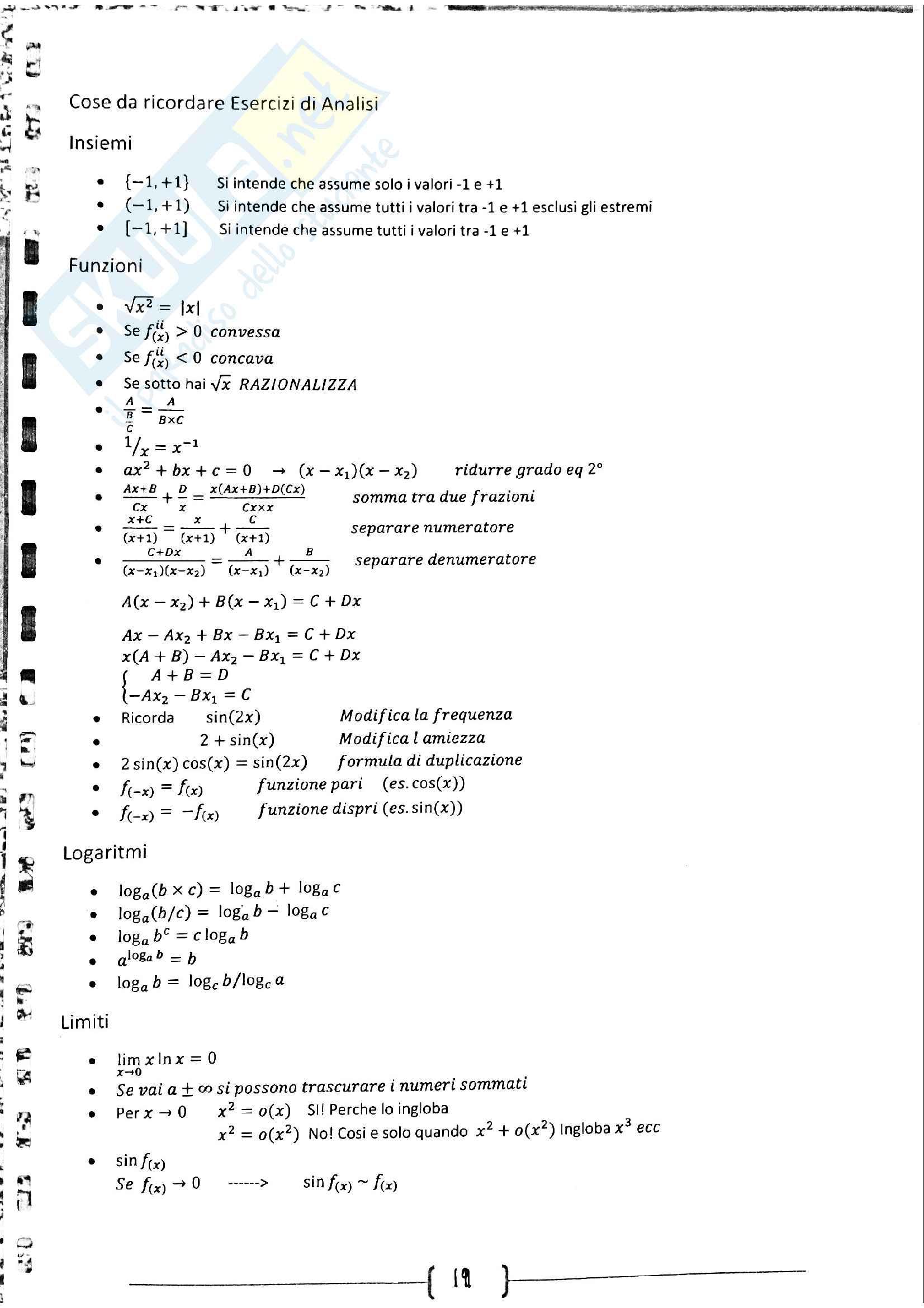 Riassunto Analisi Matematica I
