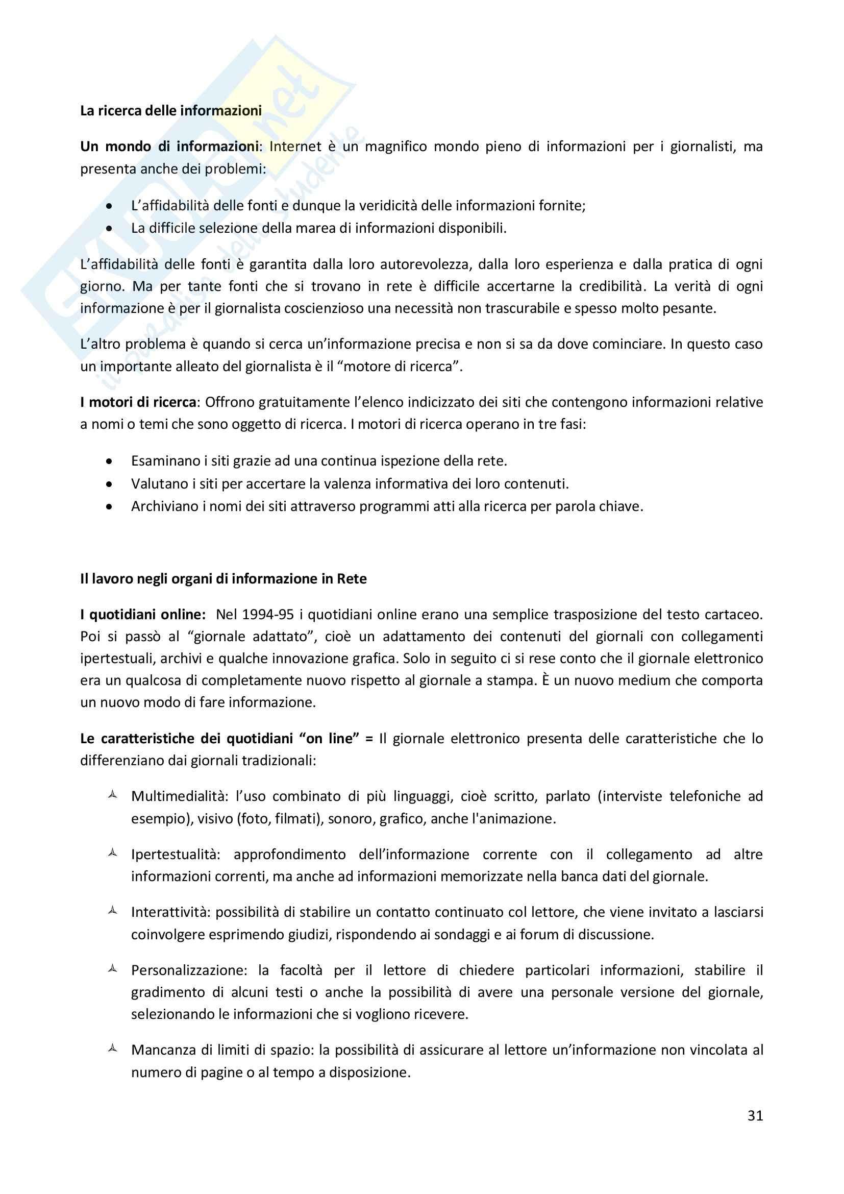 Riassunto esame Giornalismo, prof. Di Tanna, libro consigliato Professione giornalista, Lepri Pag. 31