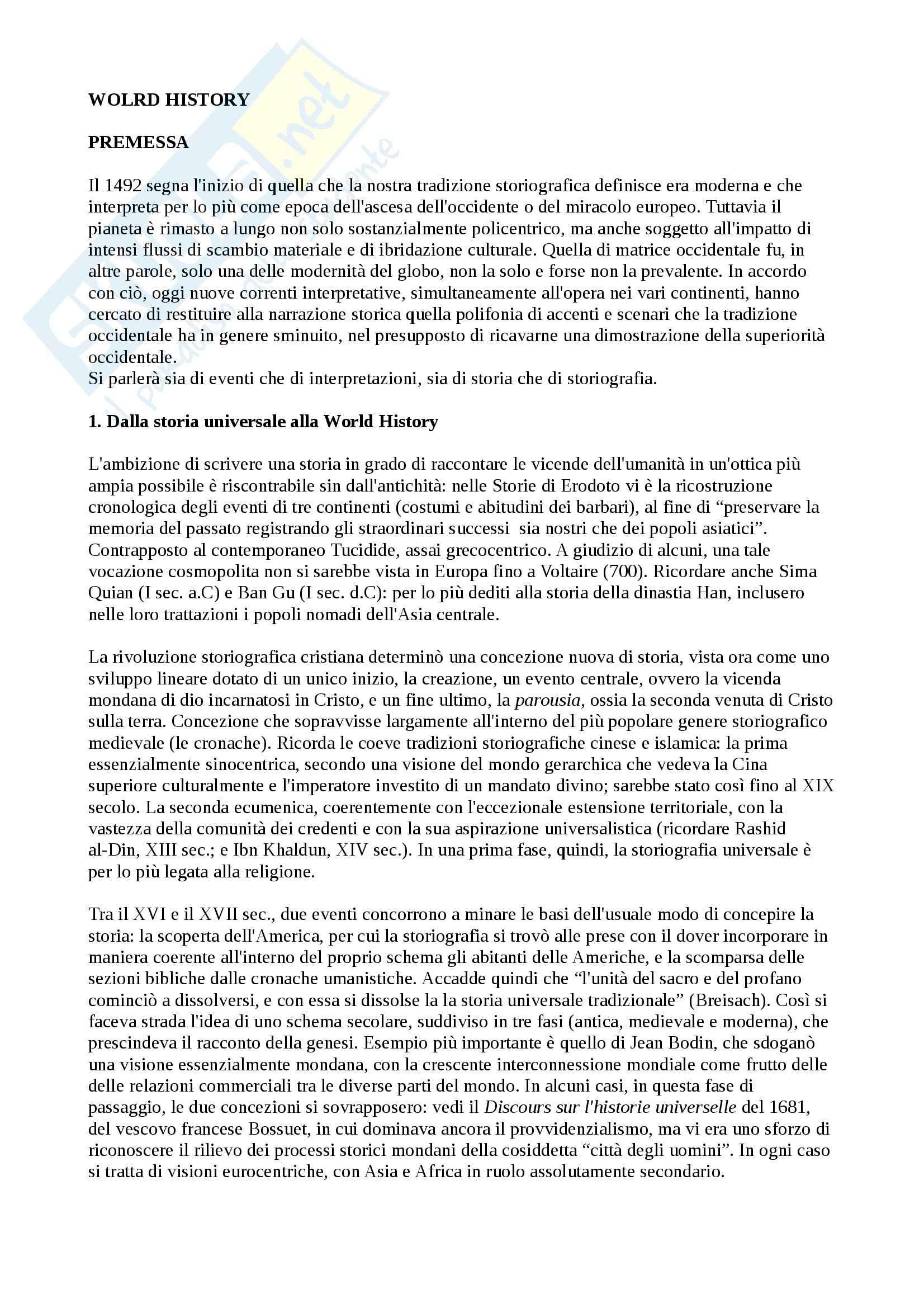 Riassunto esame world history, prof. Capuzzo, libro consigliato World history, Meriggi, Di Fiore