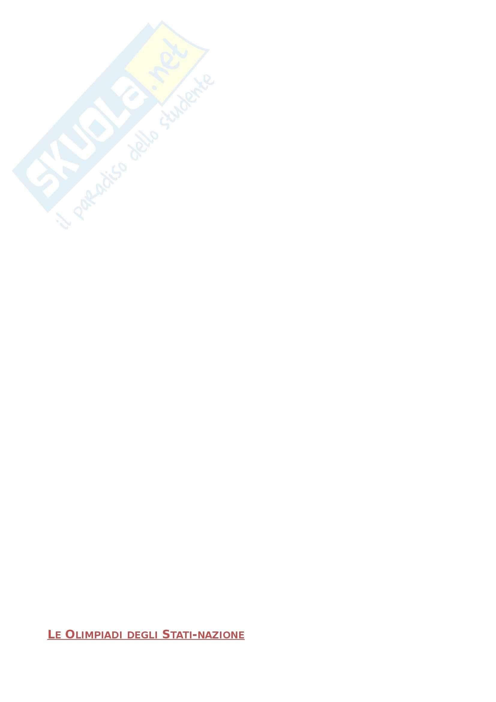 Riassunto esame Storia contemporanea, prof. Brizzi, libro consigliato Giochi di potere - Olimpiadi e politica da Atene a Londra, Sbetti
