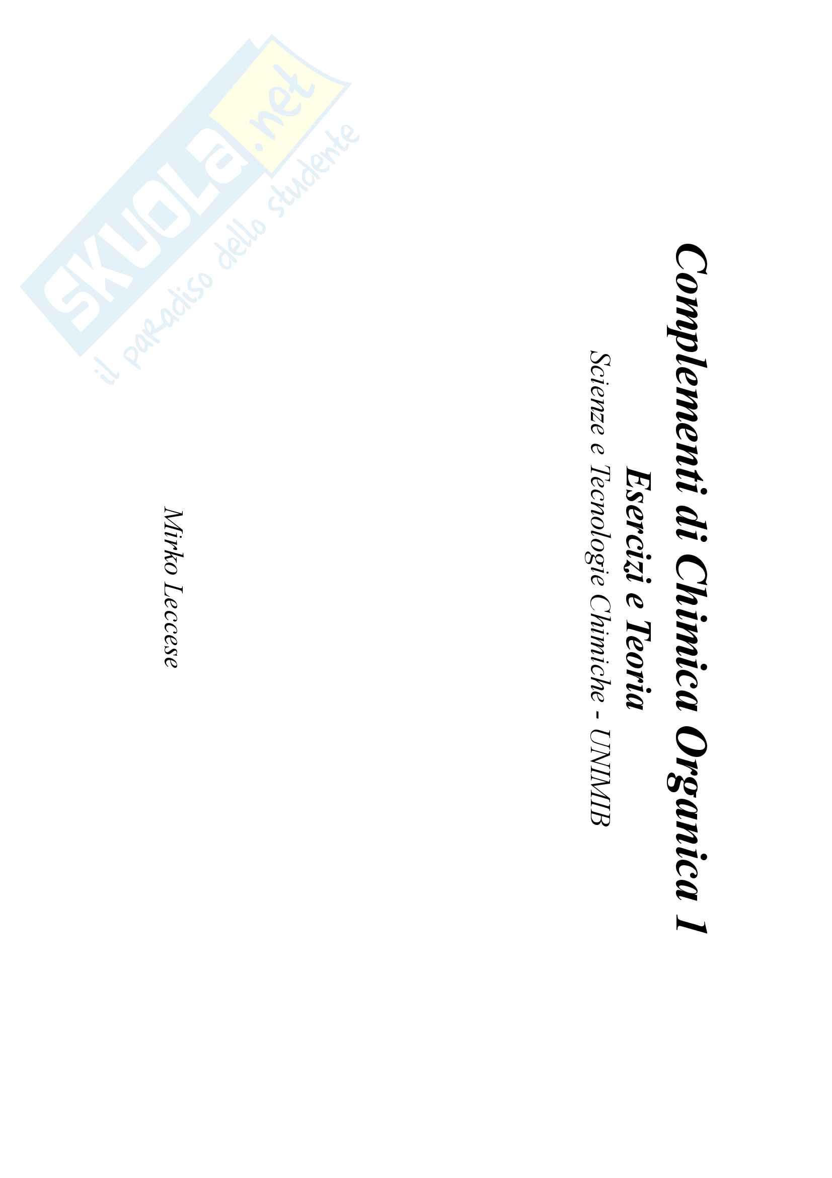 Complementi di Chimica Organica 1: Esercizi e Teoria