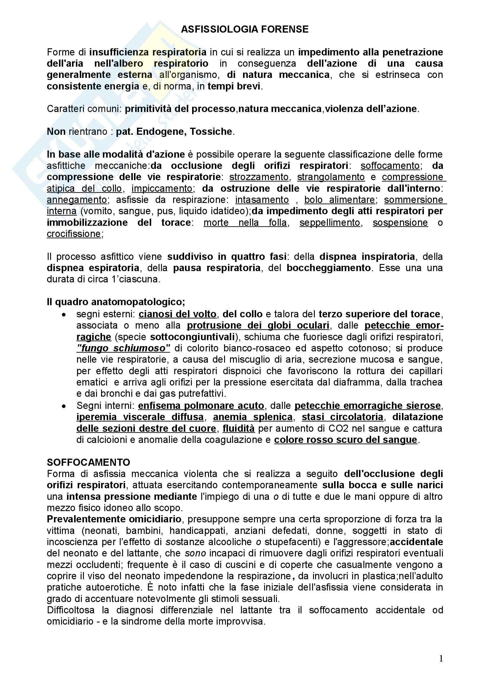 Medicina legale - asfissiologia forense