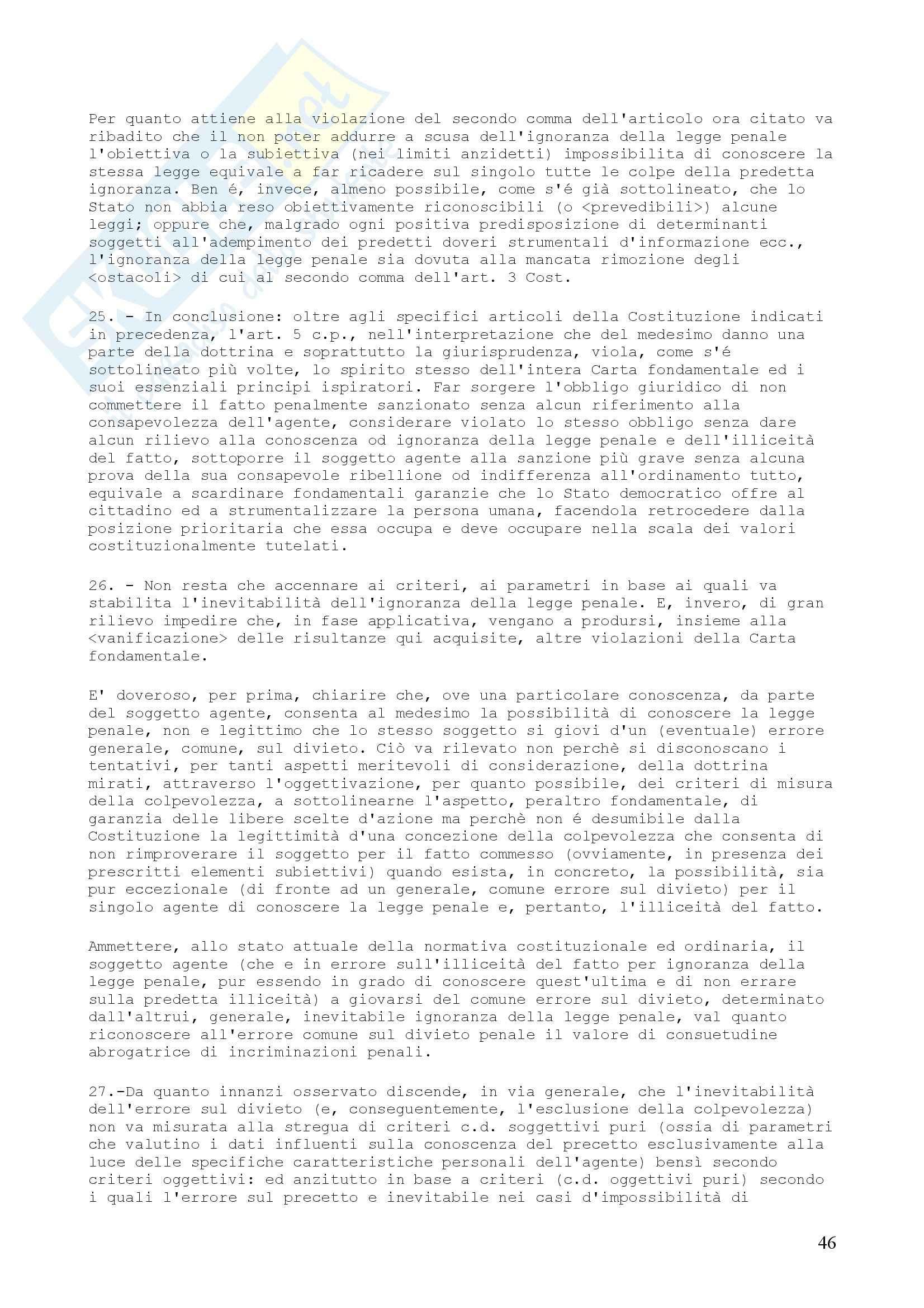 Diritto penale - Sentenza 364 della Corte Costituzionale Pag. 46