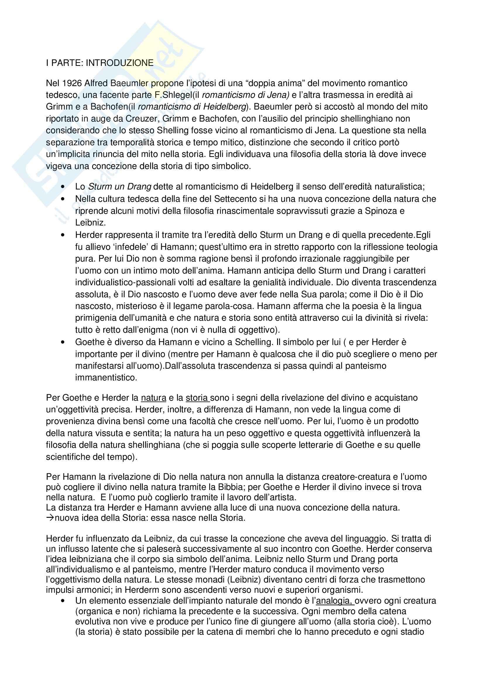 Riassunto esame Letterature Comparate, prof. Moretti, libro consigliato Heidelberg romantica