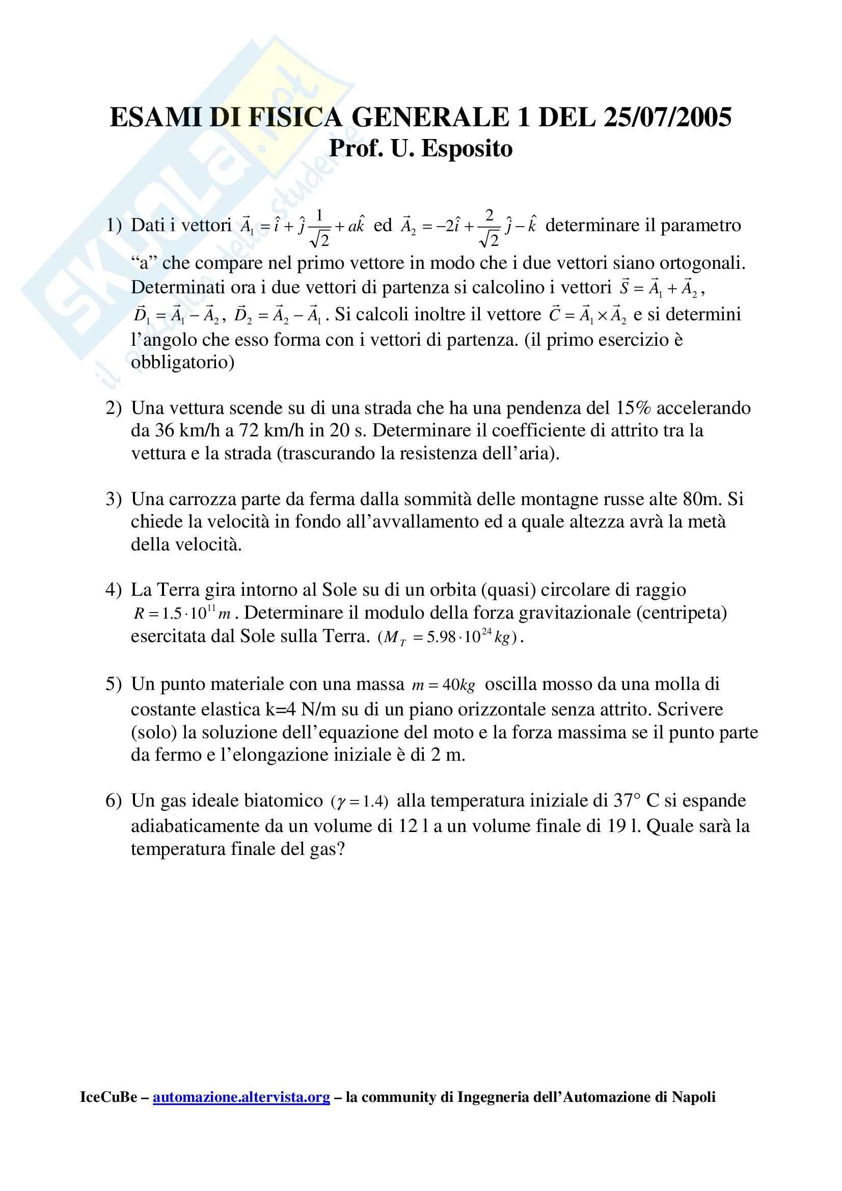 Fisica I - Esame fisica anno 2005