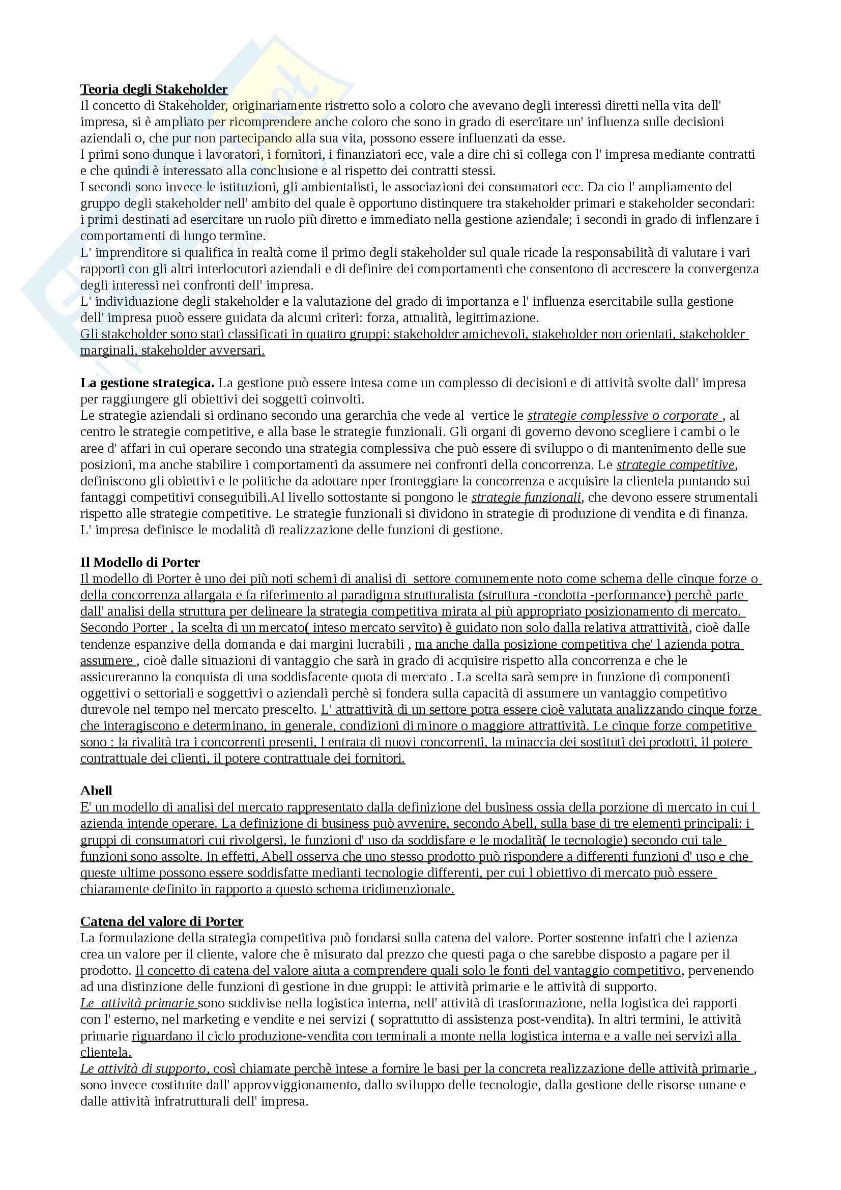 Riassunto esame Economia, prof. Michelini, libro consigliato La Gestione delle imprese