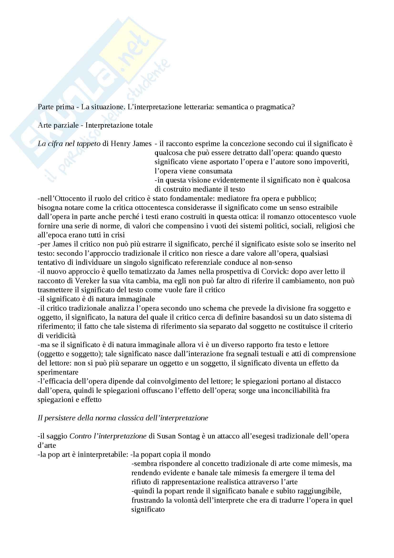 Riassunto esame Letteratura Inglese, prof. Dell'Aversano, libro consigliato L'Atto della Lettura, Iser
