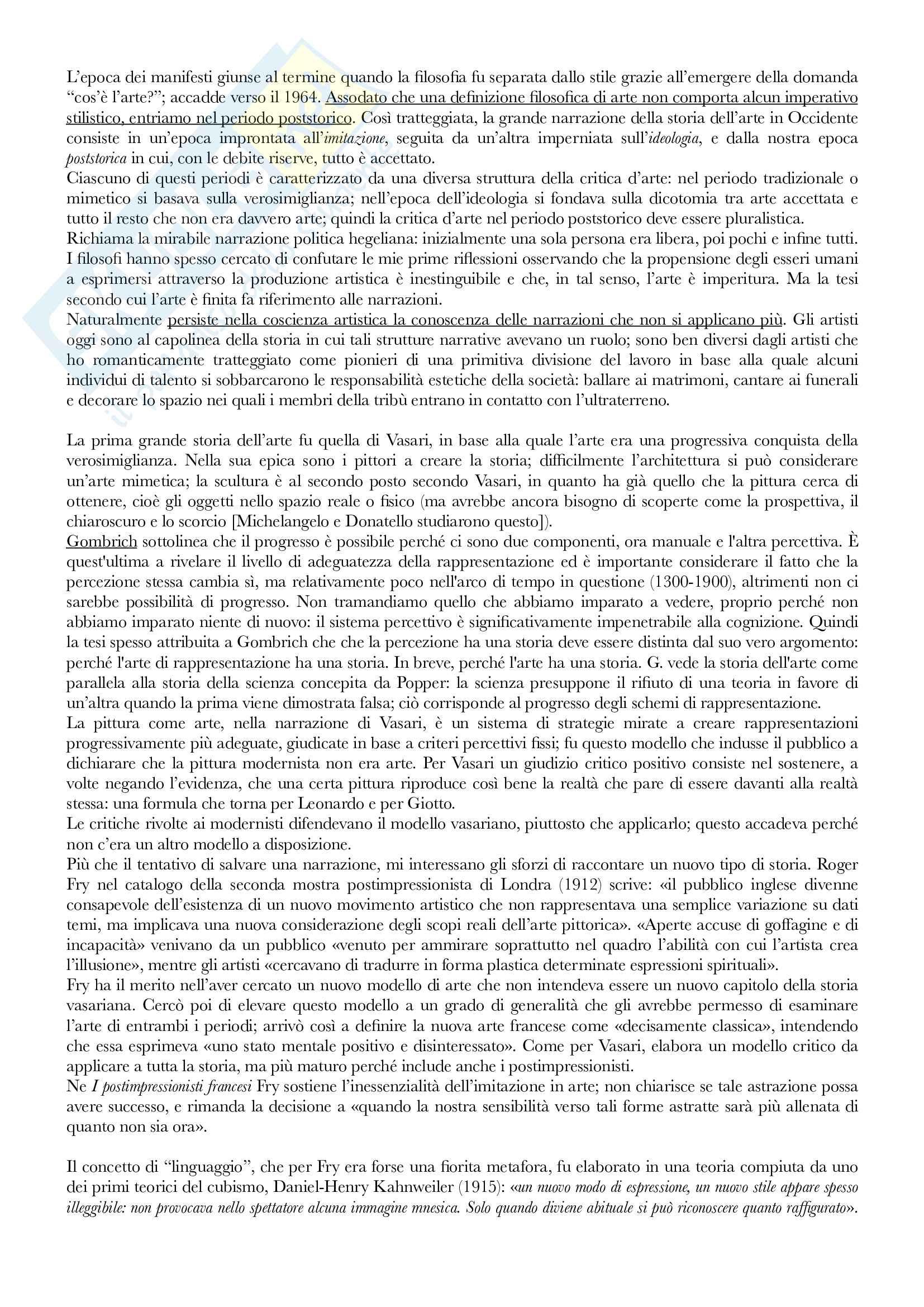 Riassunto esame Avanguardie storiche e neoavanguardie, prof. Evangelisti, libro consigliato Dopo la fine dell'arte, Danto Pag. 6