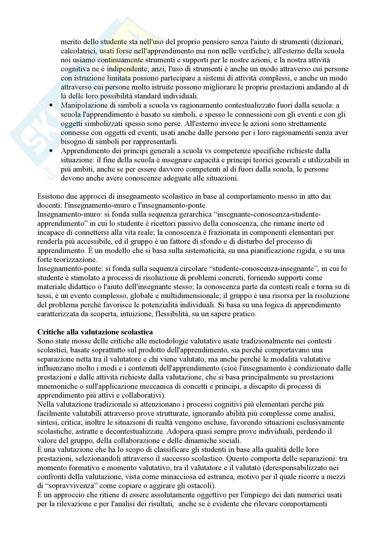 Riassunto esame Didattica generale, prof. Calvani, libro consigliato Didattica generale, Castoldi Pag. 26