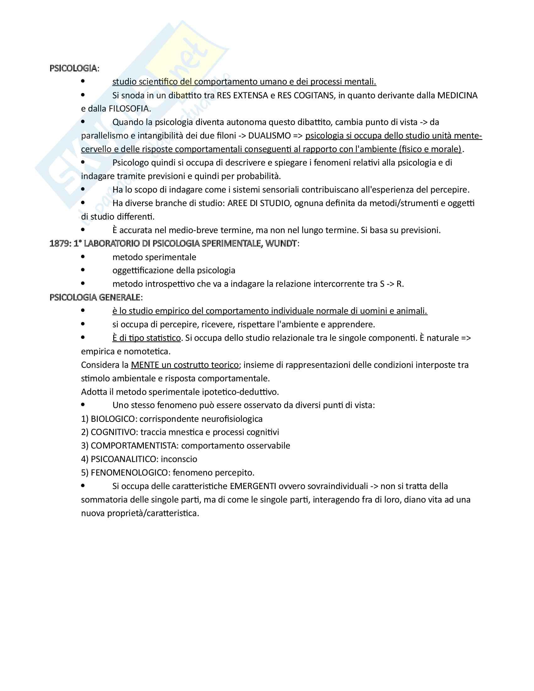 Riassunto esame psicologia generale 1, prof. Ricciardelli, libro consigliato Psicologia generale, Cherubini