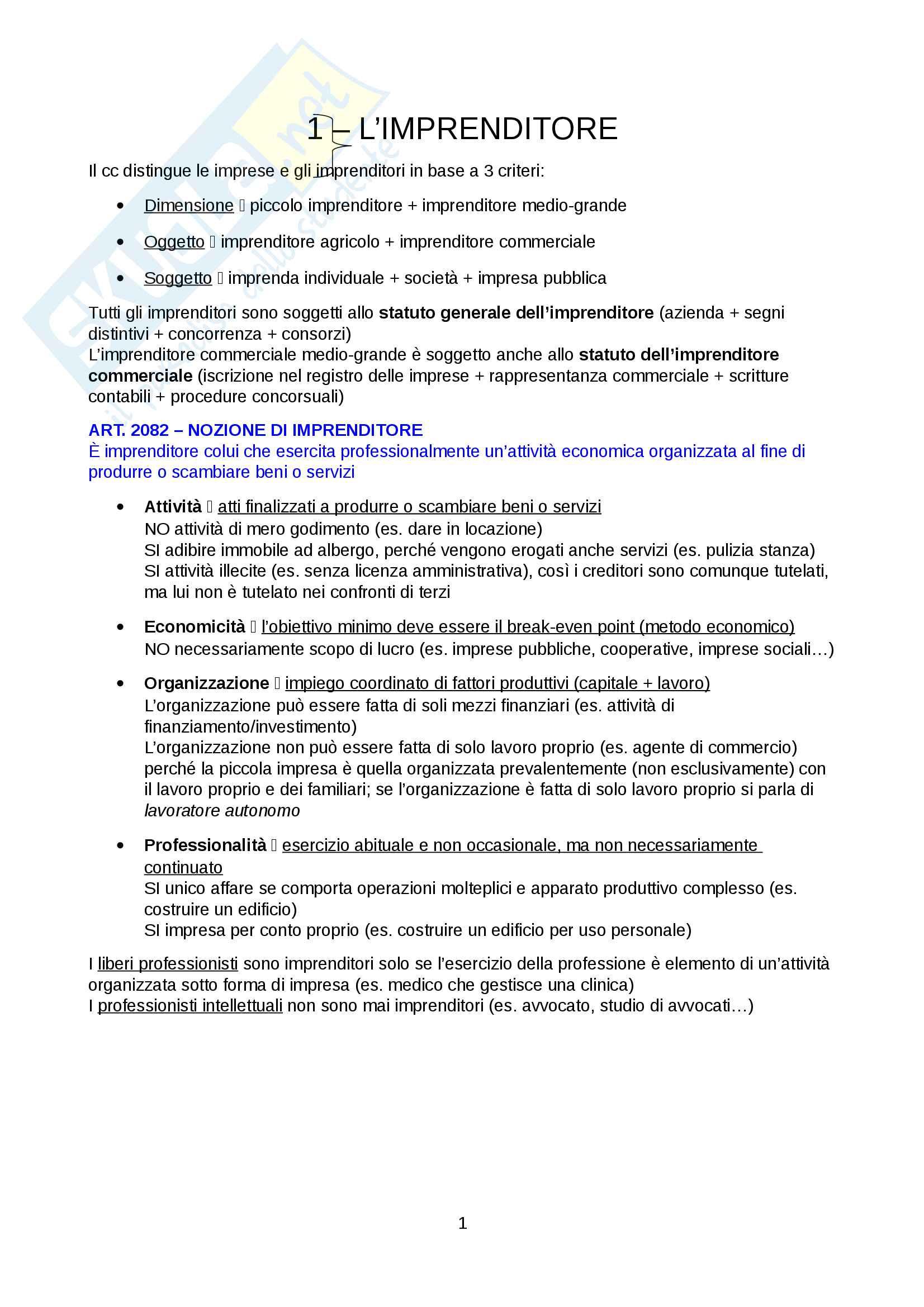 appunto M. Rigotti Diritto commerciale