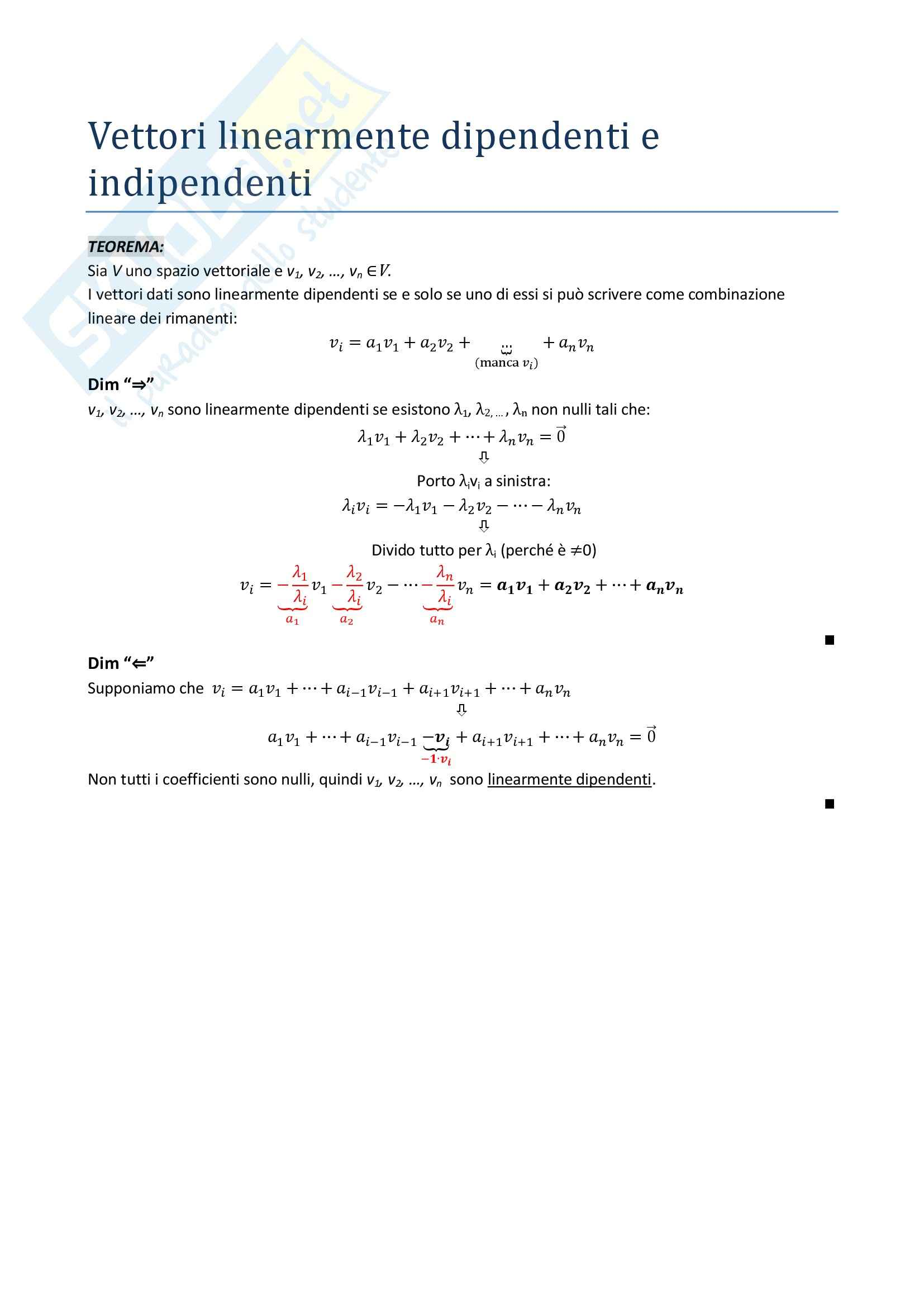 Algebra lineare e geometria - il teorema vettori linearmente dipendenti