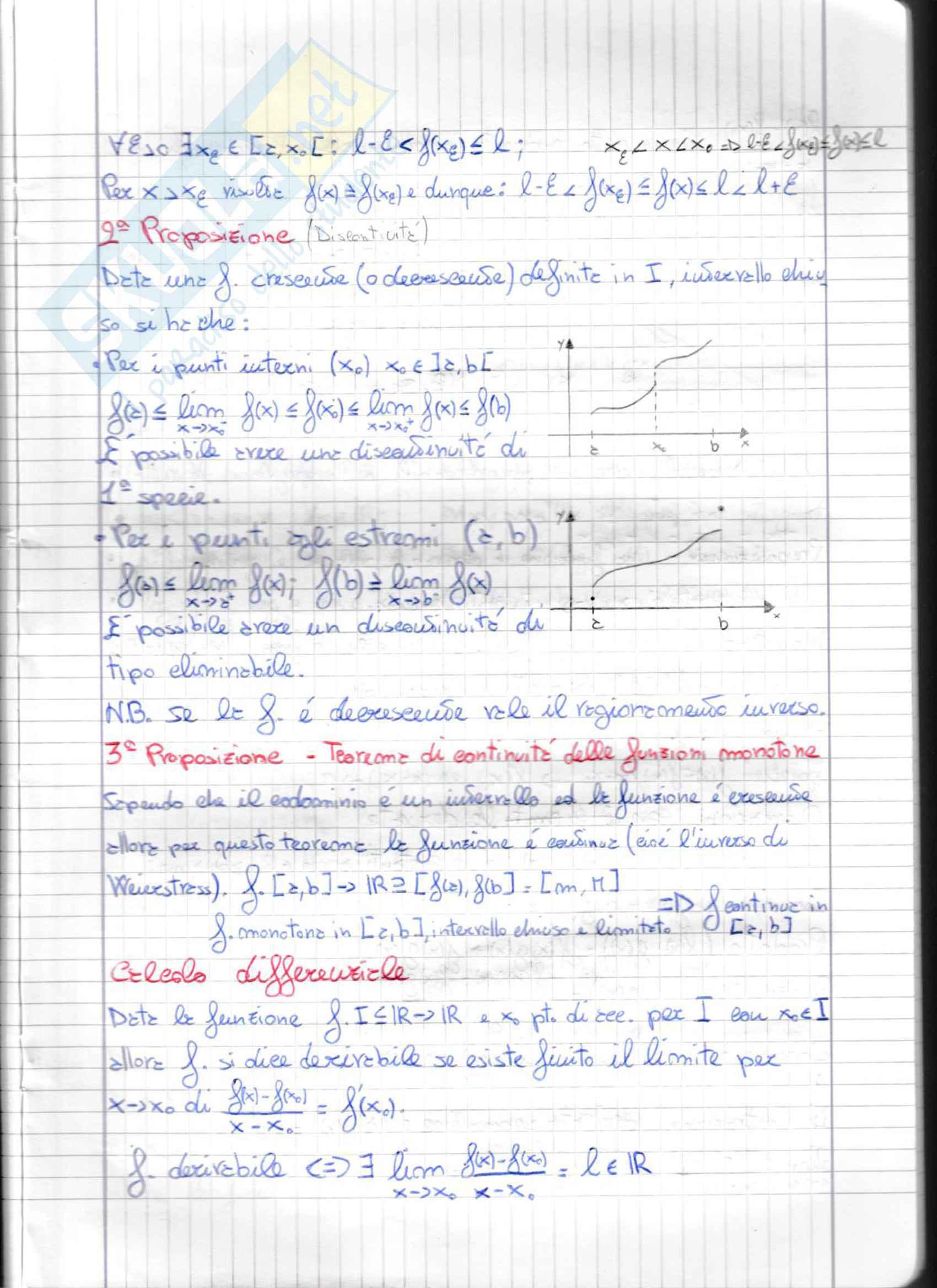 Appunti di Analisi 1: Calcolo differenziale