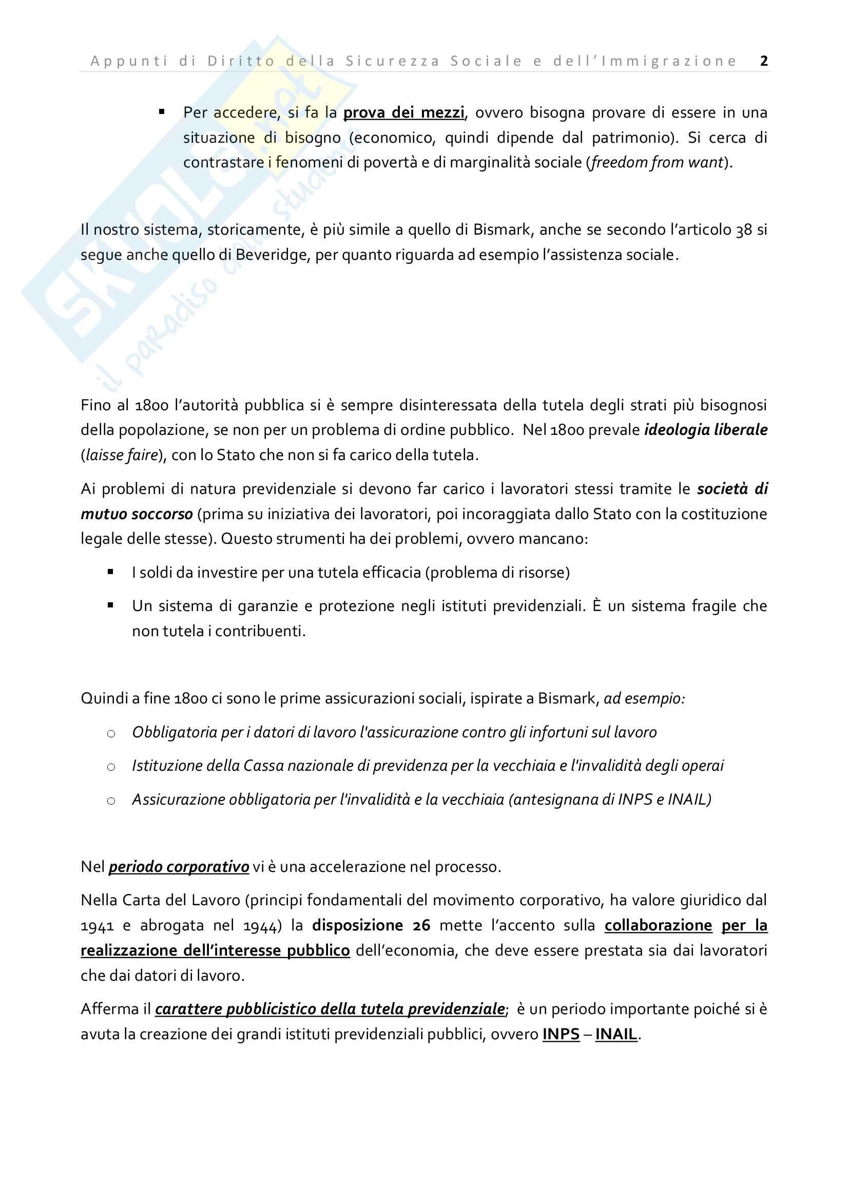 Appunti di Diritto della Sicurezza sociale e dell'immigrazione Pag. 2