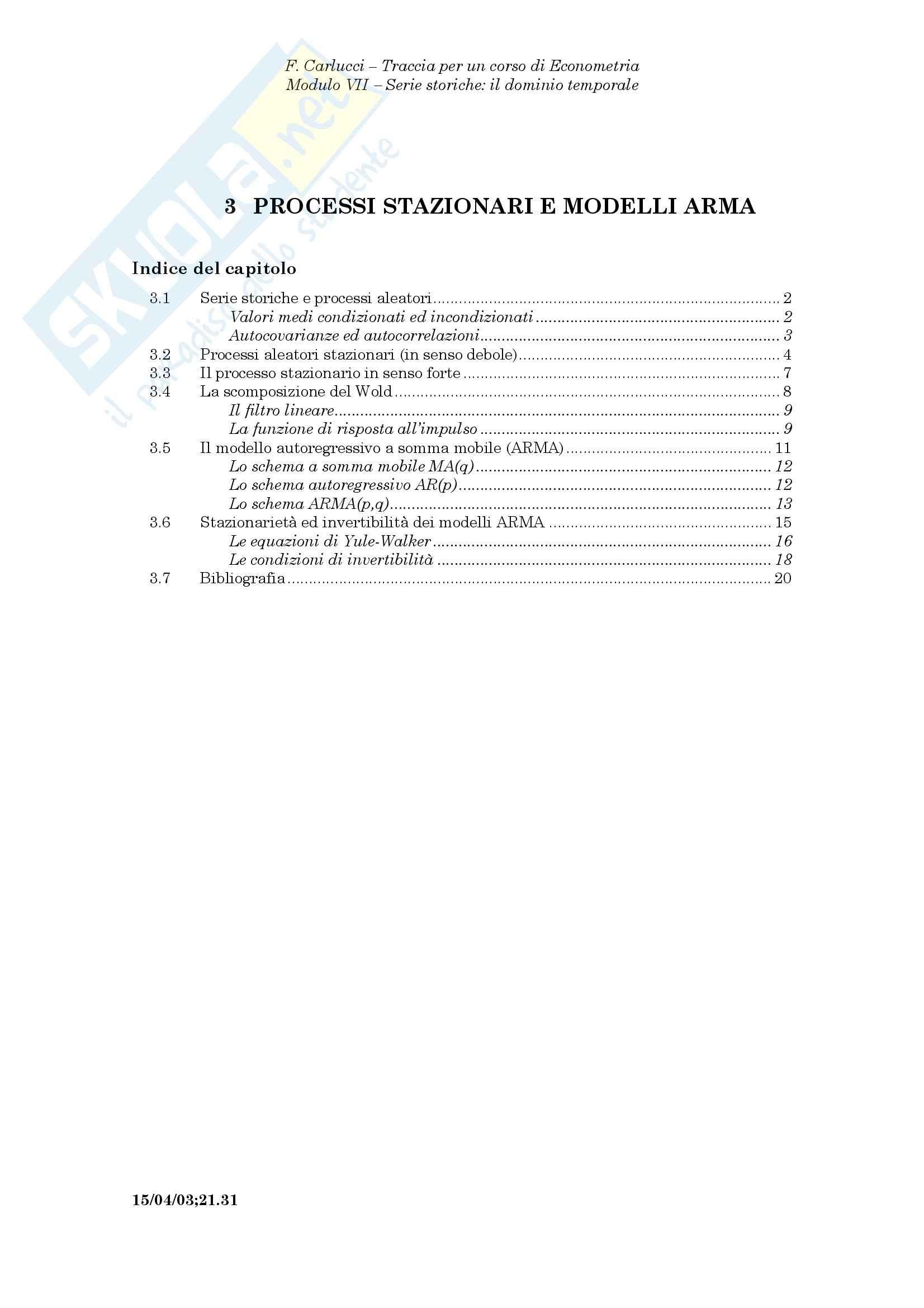 Econometria - i modelli ARMA