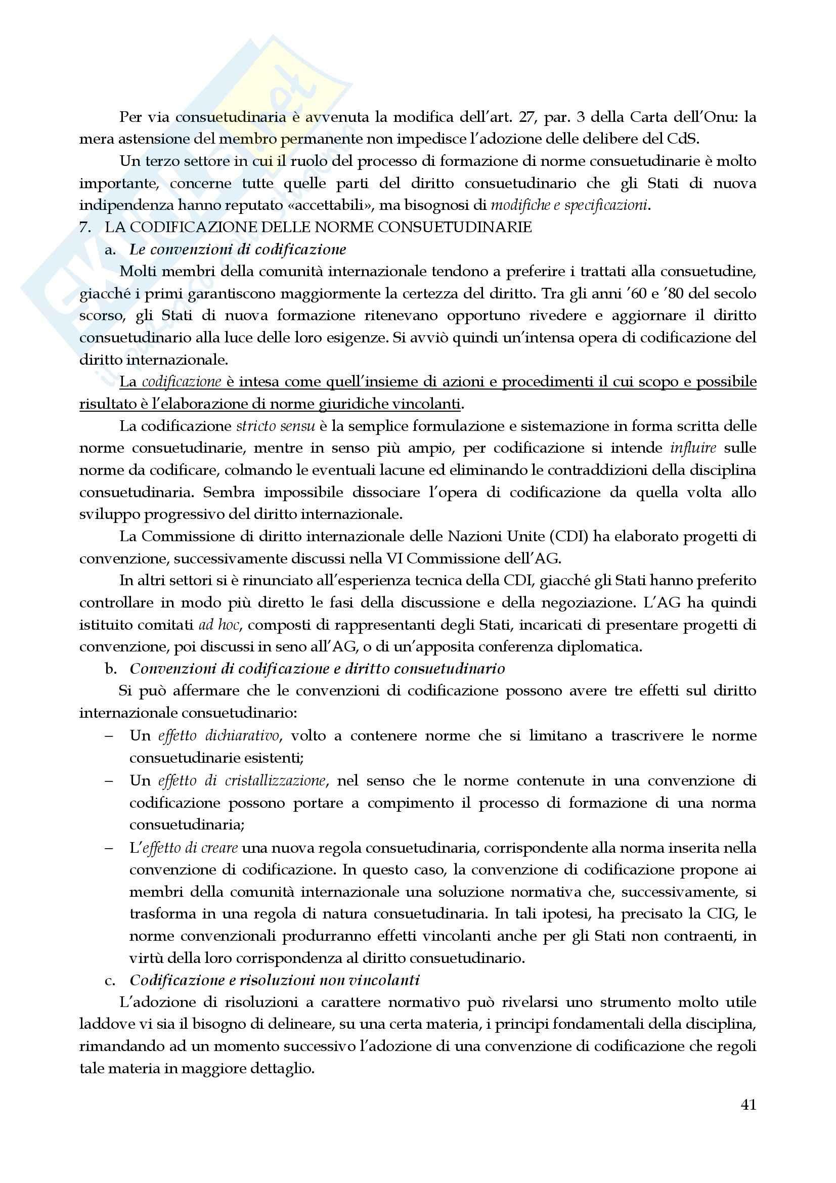 Riassunto esame Diritto Internazionale, prof. Marchisio, libro consigliato Diritto Internazionale di Cassese Pag. 41