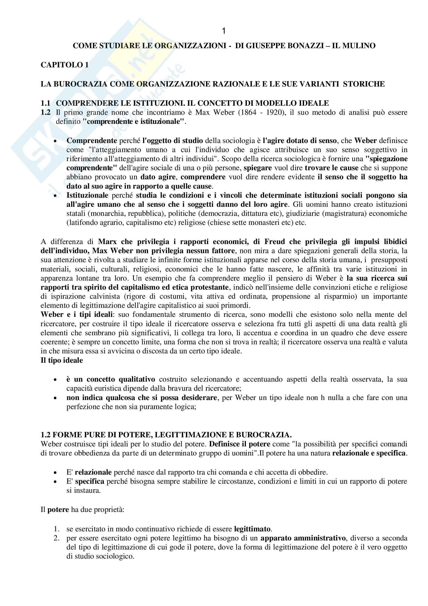 Sociologia dell'organizzazione - Appunti