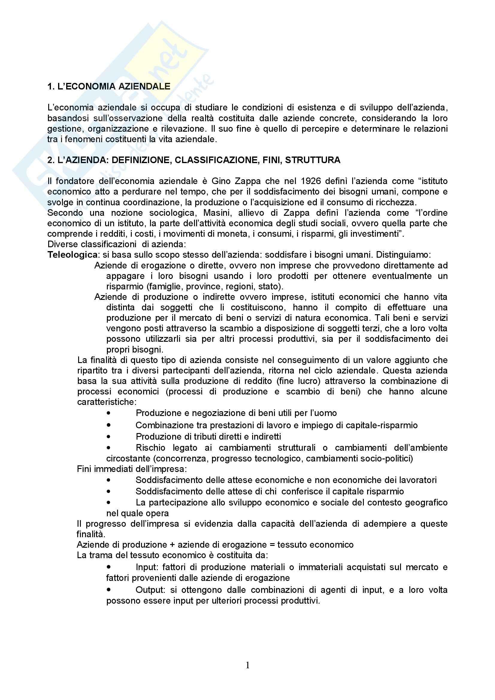 Riassunto esame Economia Aziendale, prof. Vergara, libro consigliato Esistenza e lo Sviluppo dell'Azienda, Puglisi