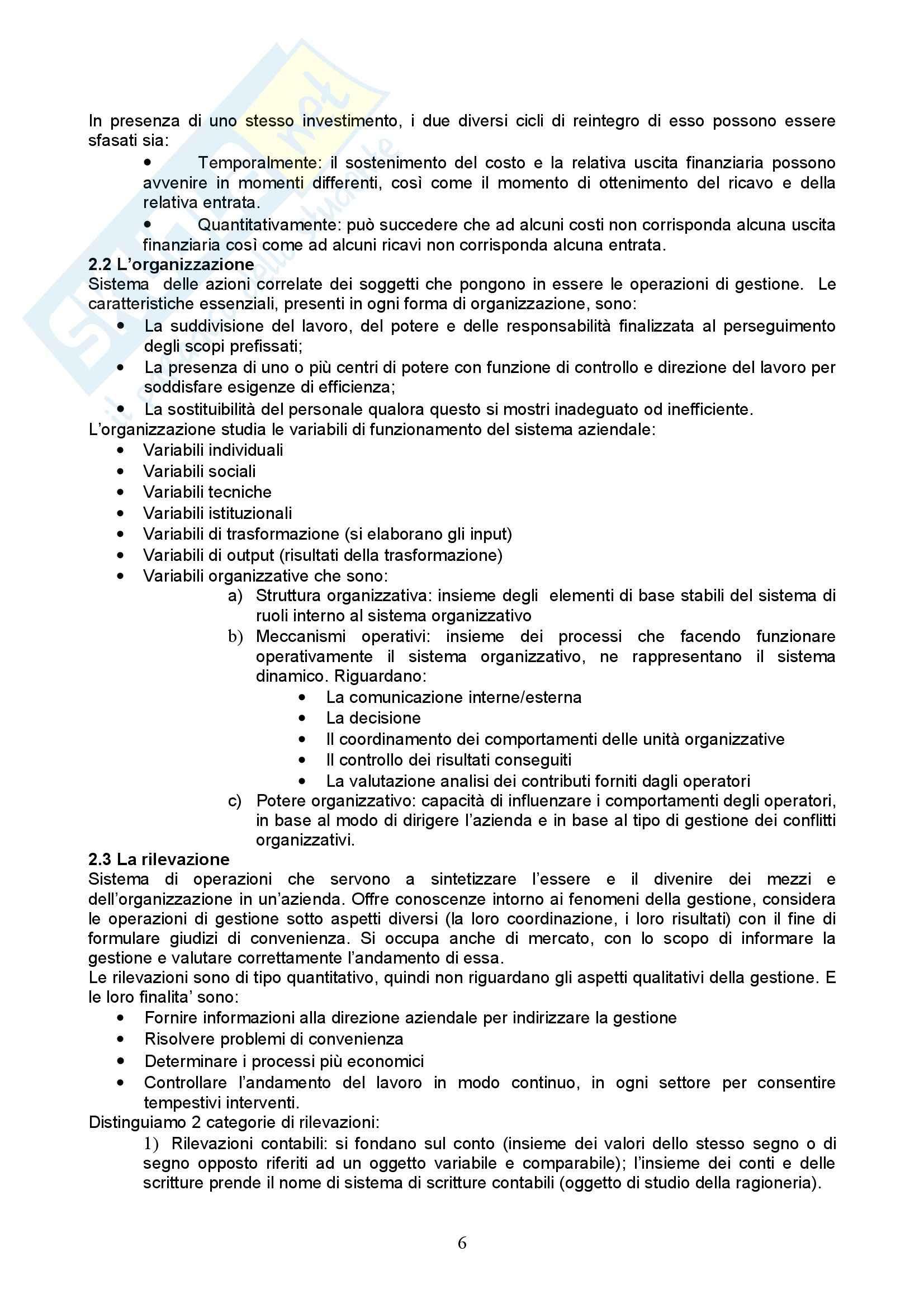 Riassunto esame Economia Aziendale, prof. Vergara, libro consigliato Esistenza e lo Sviluppo dell'Azienda, Puglisi Pag. 6