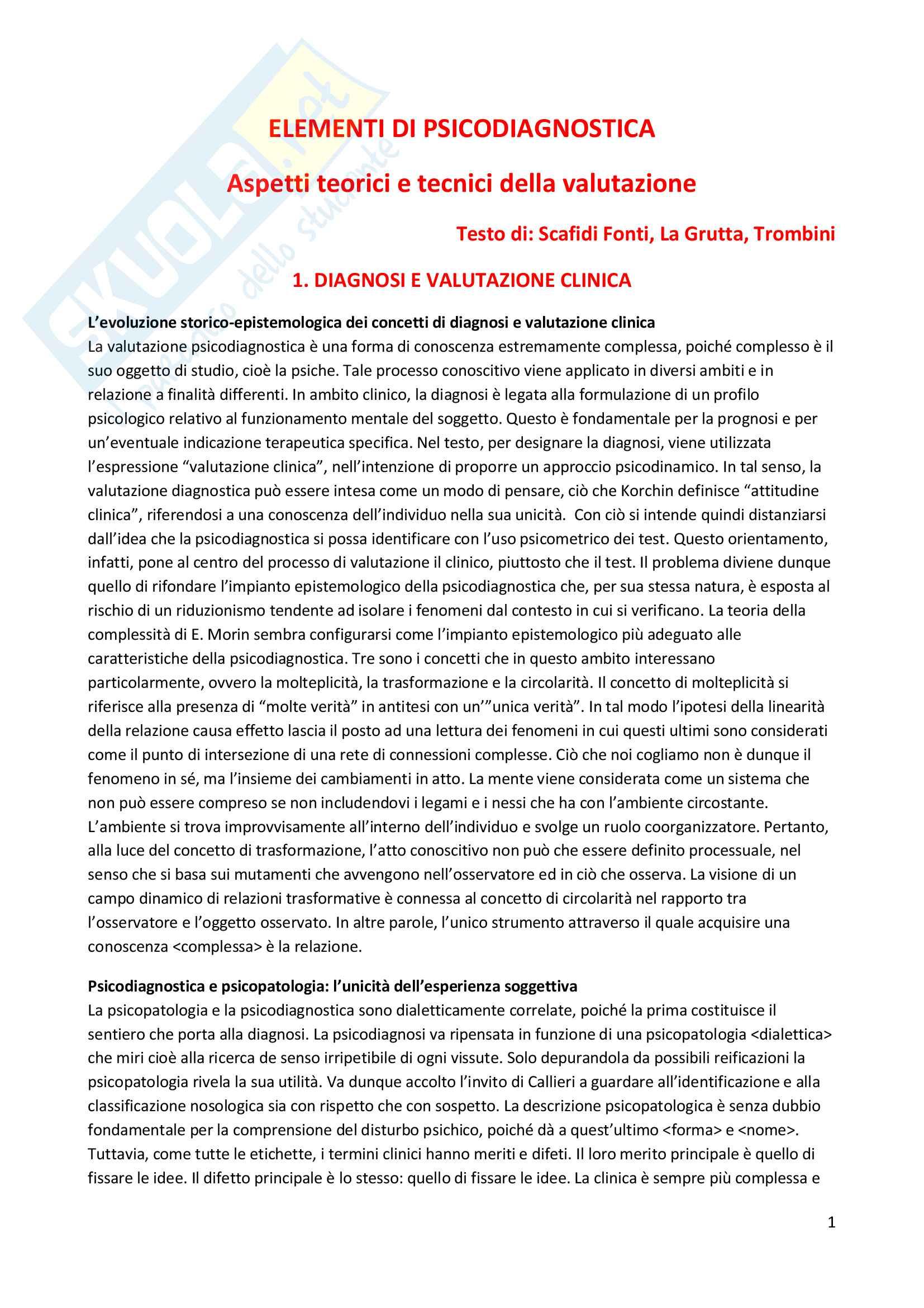 Riassunto esame Psicodiagnostica e psicopatologia, prof. La Grutta, libro consigliato Elementi di psicodianostica. Aspetti teorici e tecnici della valutazione, Scafidi Fonti, La Grutta, Trombini