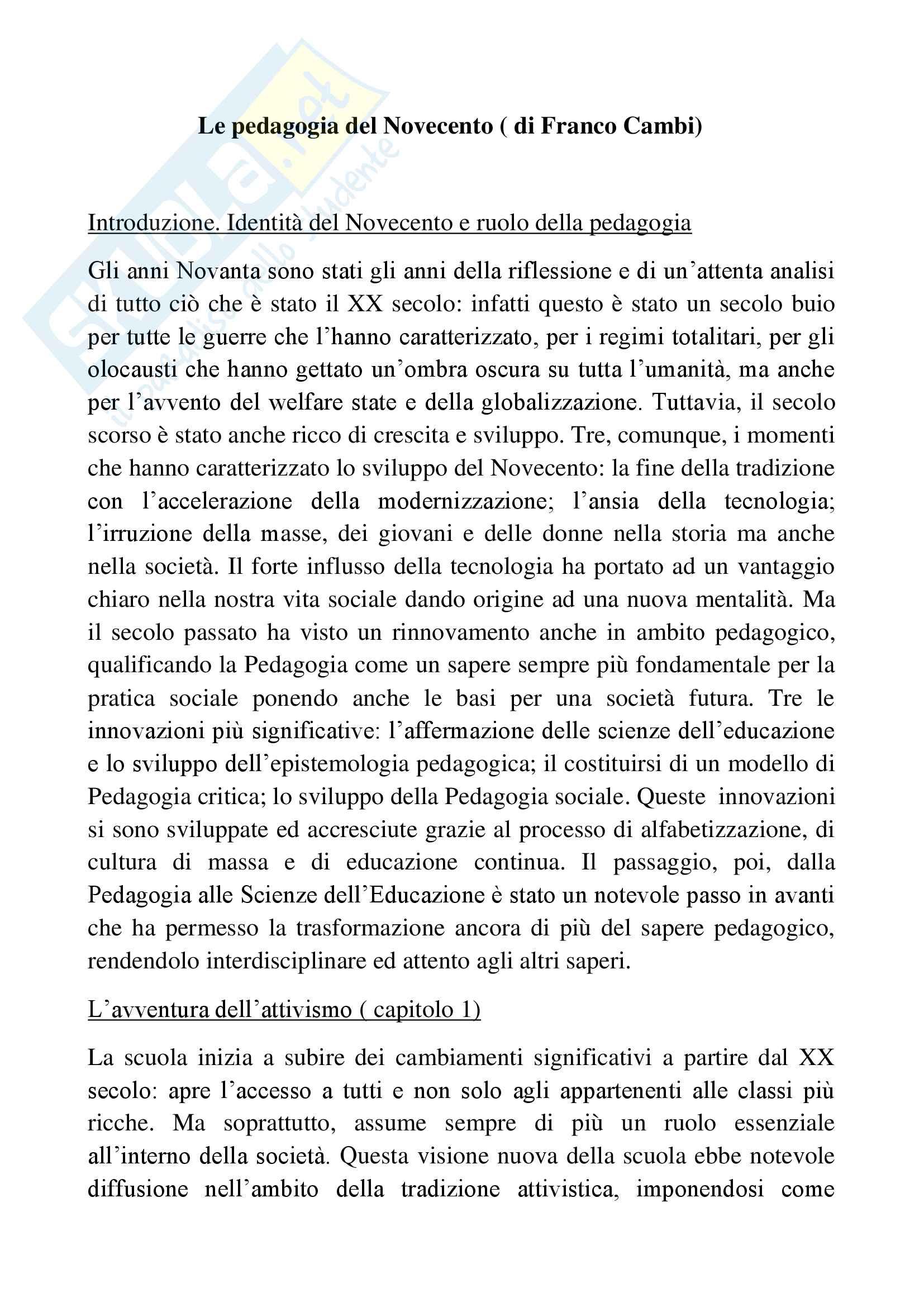 Riassunto esame pedagogia generale, docente Corbi, libro consigliato Le pedagogie del 900, Cambi