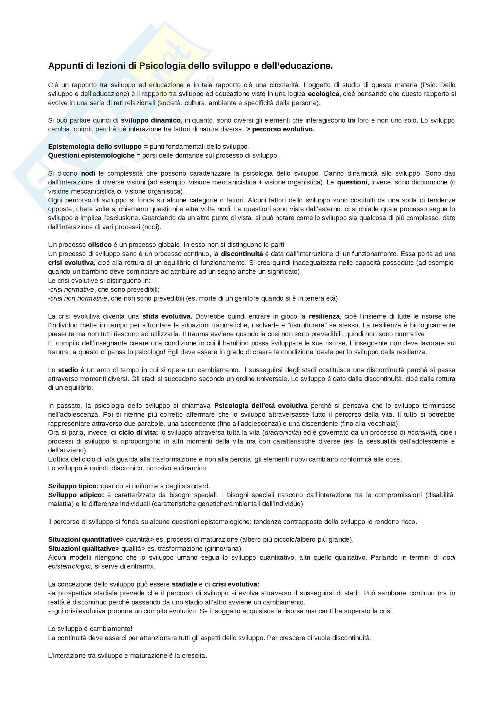 Psicologia dello sviluppo e dell'educazione - Appunti