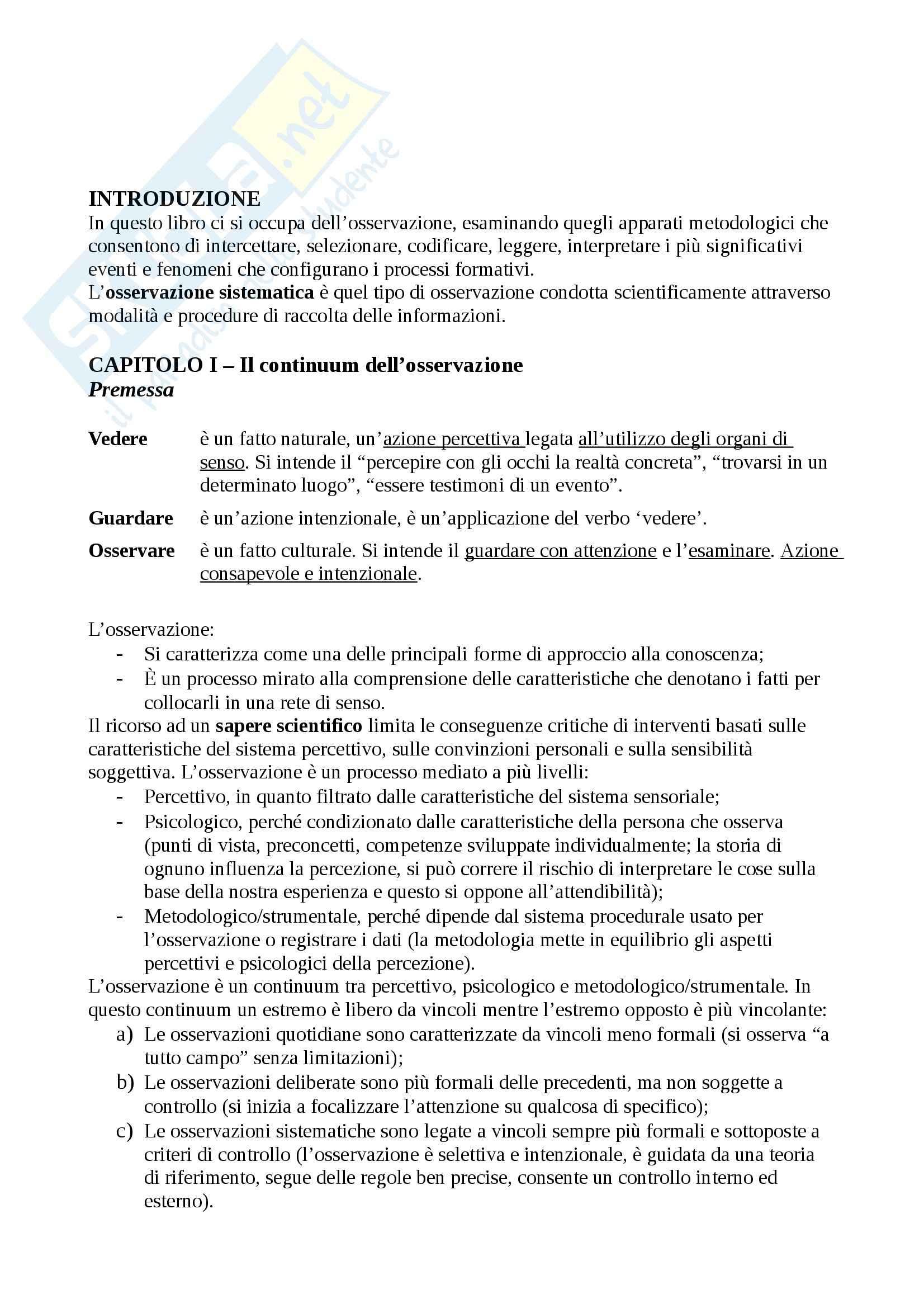 Riassunto esame Pedagogia Sperimentale e Valutazione Scolastica, prof. Olmetti, libro consigliato Il Metodo Osservativo nei Contesti Formativi di Peja