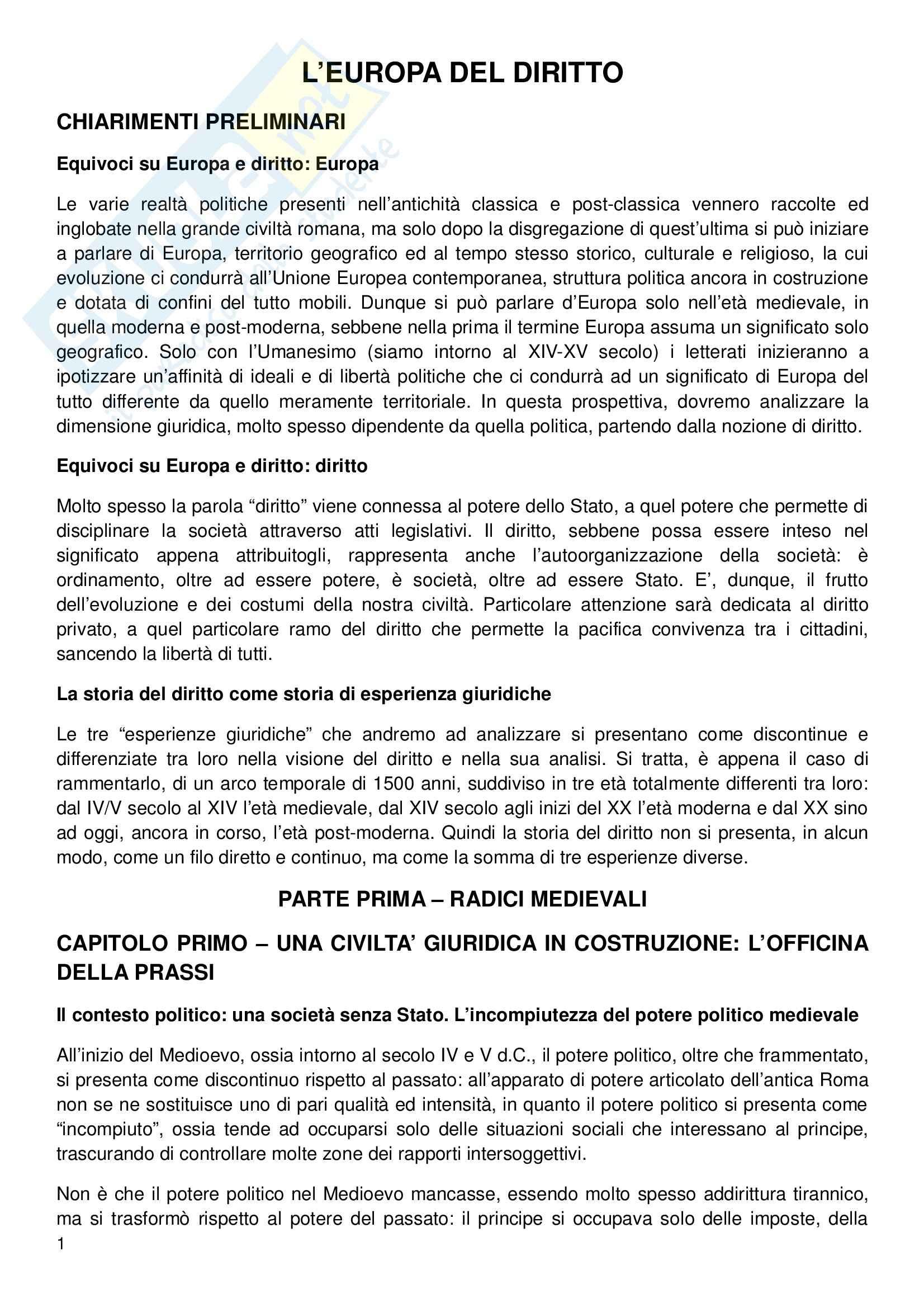 Storia del Diritto Italiano - L'Europa del diritto