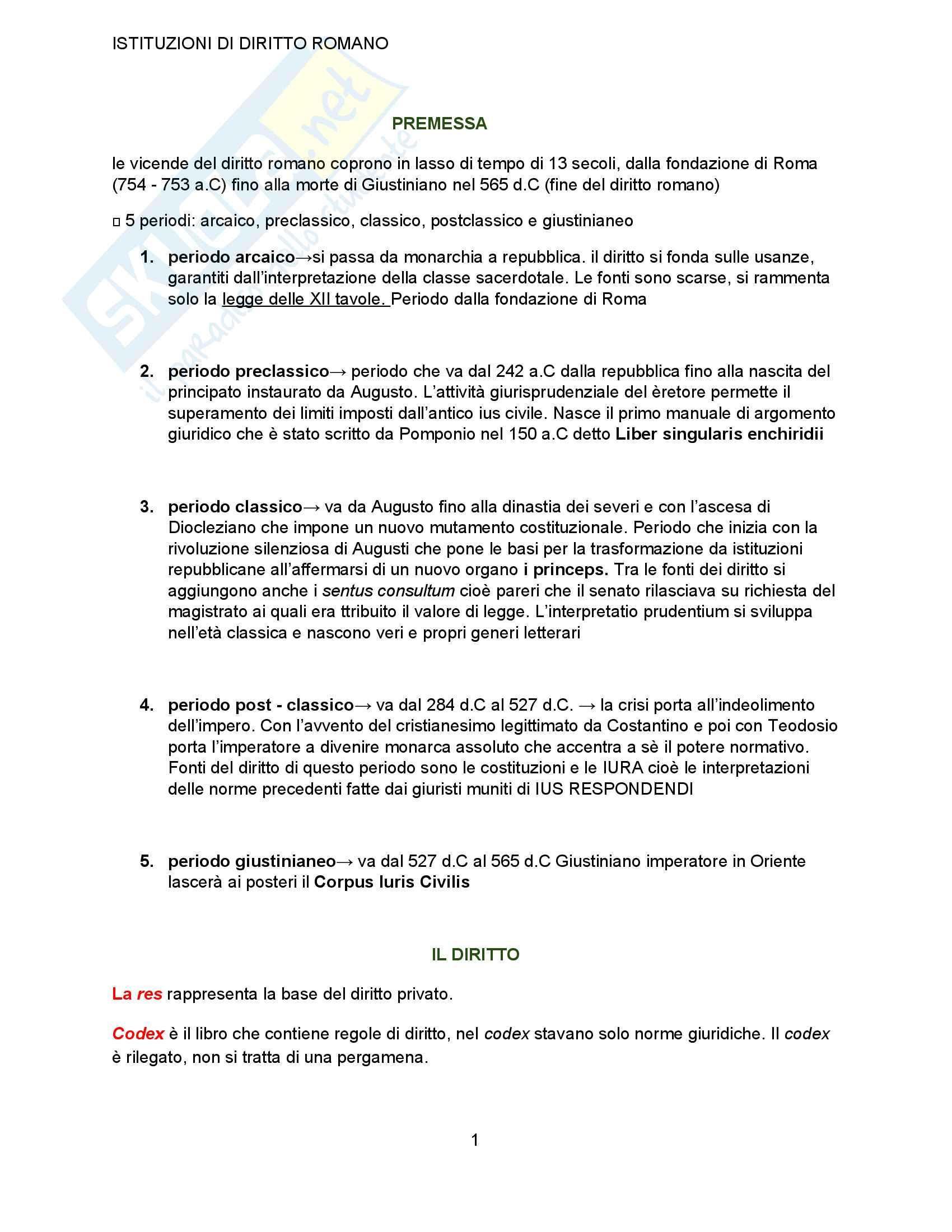 appunto A. Bellodi Istituzioni di diritto romano