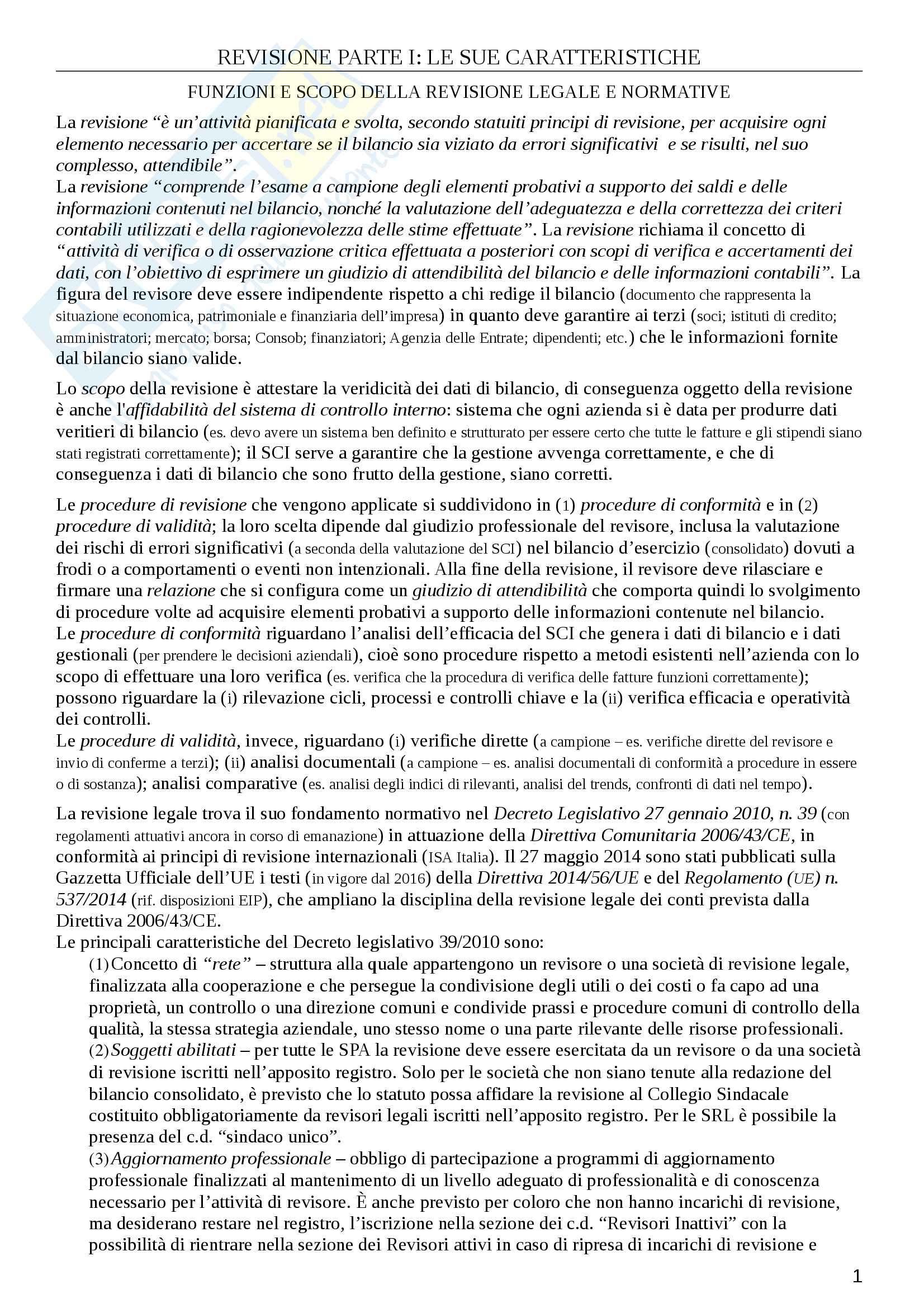 """Riassunto esame Revisione aziendale e controllo dei conti, prof. Bauer, libro consigliato """"La revisione legale"""" di R. Bauer"""