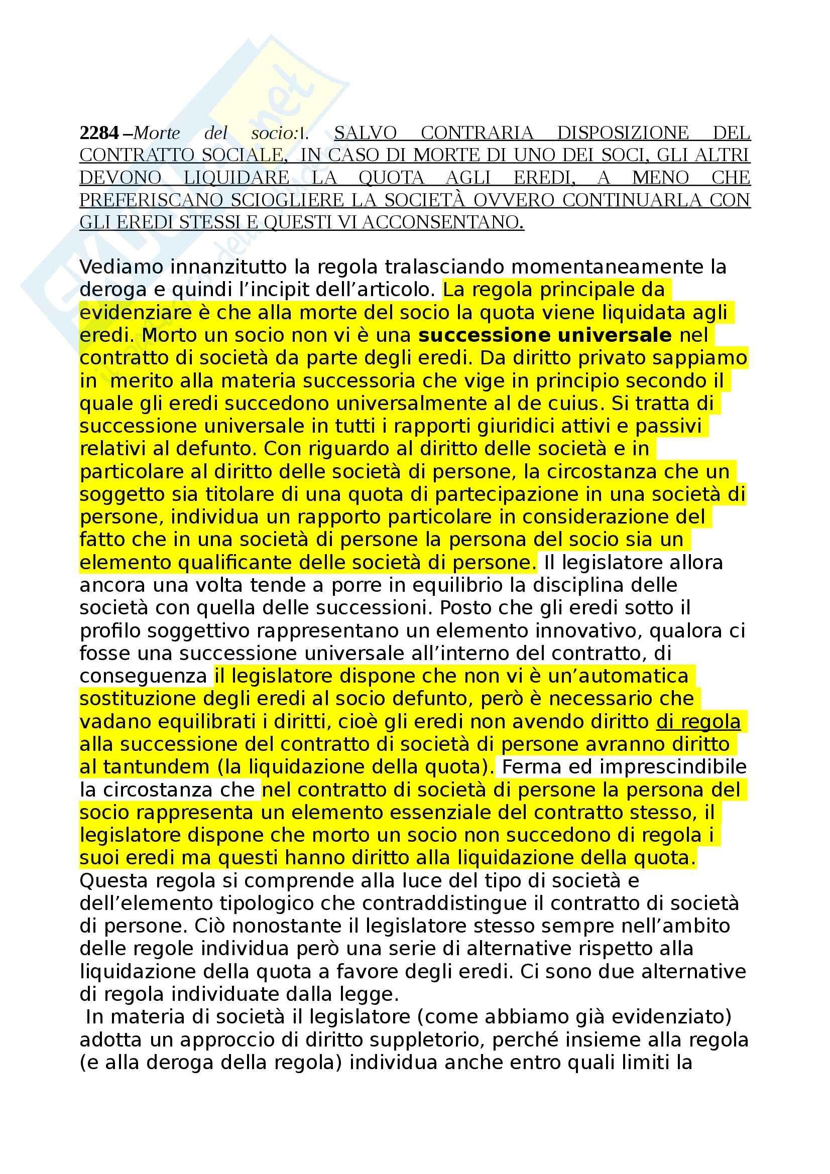 Diritto commerciale - Recesso e morte del socio Pag. 2