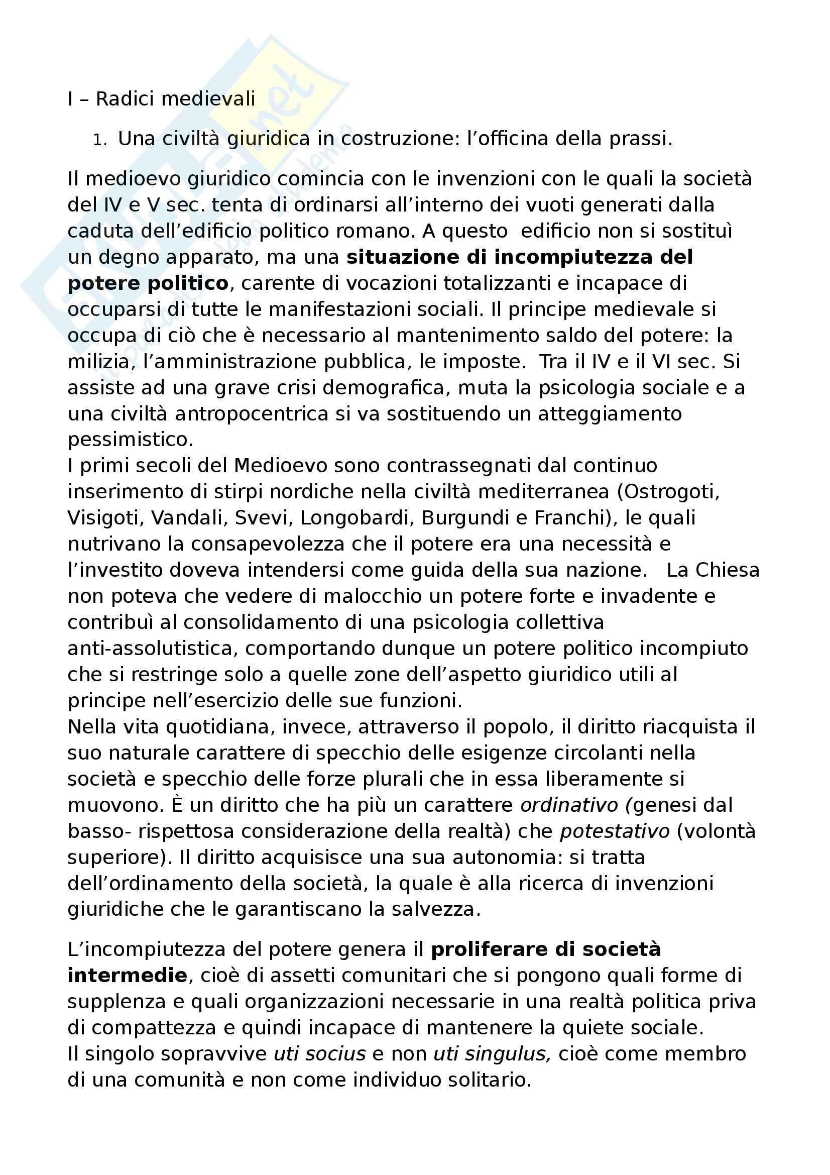 Riassunto esame Storia del Diritto Medievale e Moderno, prof. Speciale, libro consigliato L'Europa del Diritto, Grossi