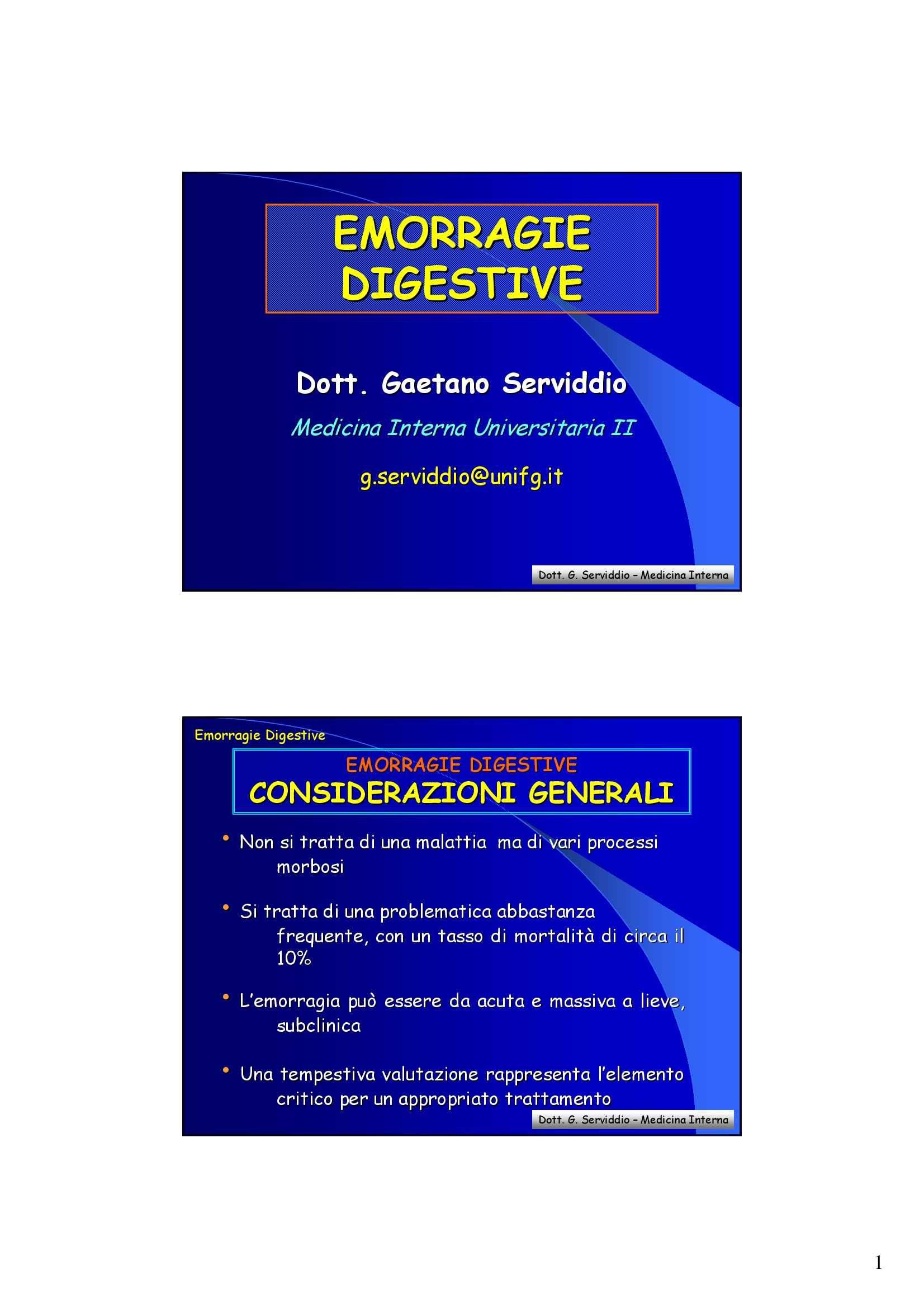 Medicina d'urgenza - Emorragie Digestive