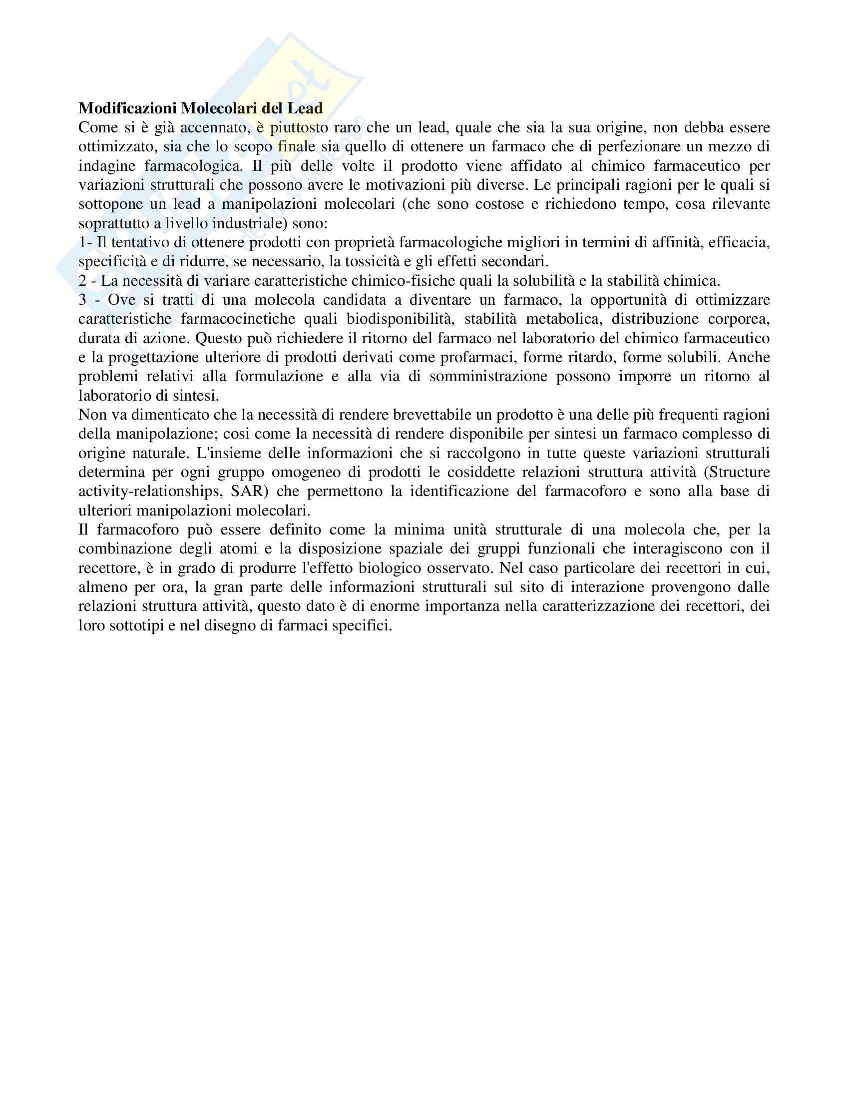Chimica farmaceutica - progettazione lead ed eventuali Pag. 6