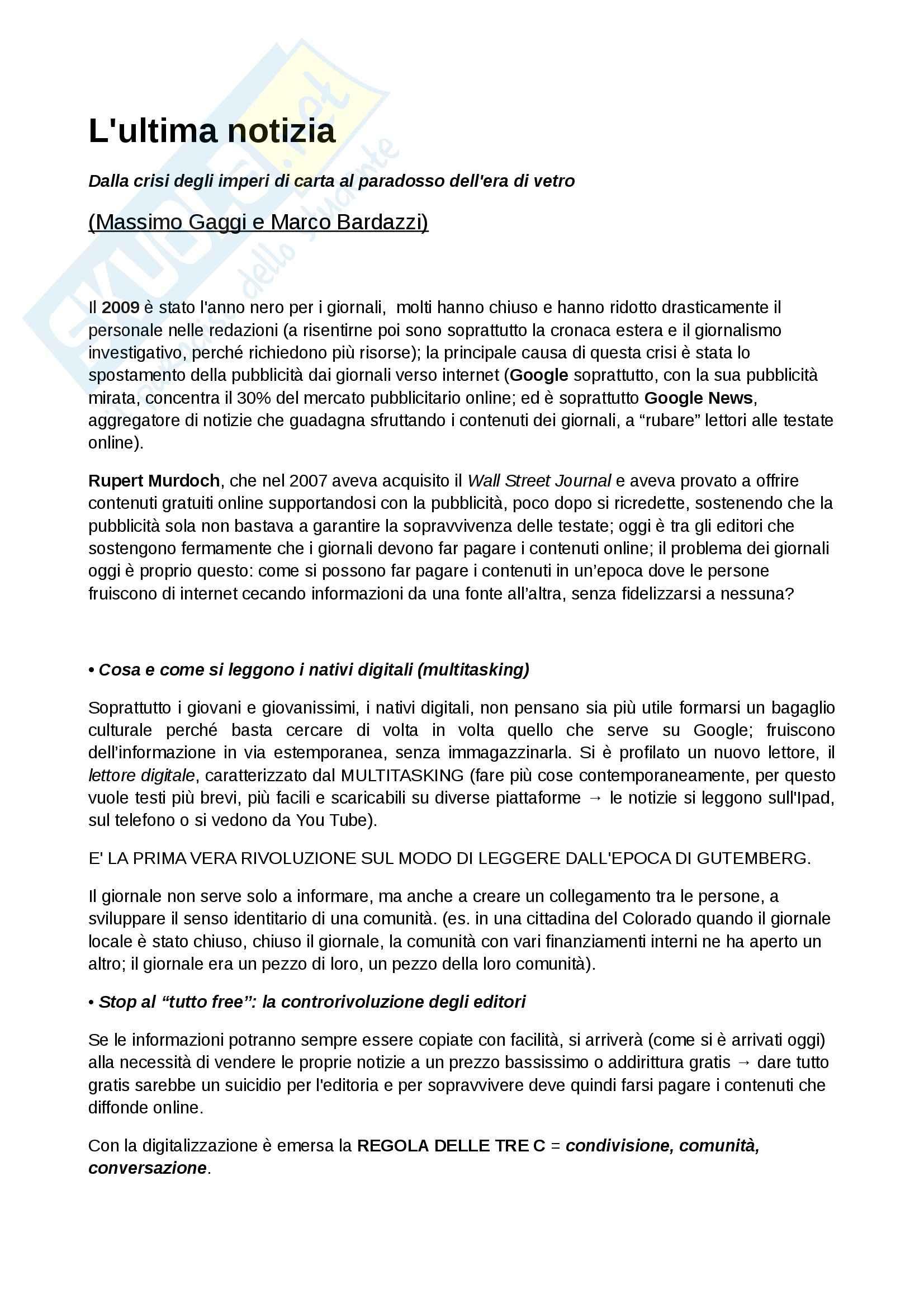 Riassunto esame Cultura Giornalistica, prof. Jucker libro consigliato L'ultima Notizia, Gaggi, Bardazzi