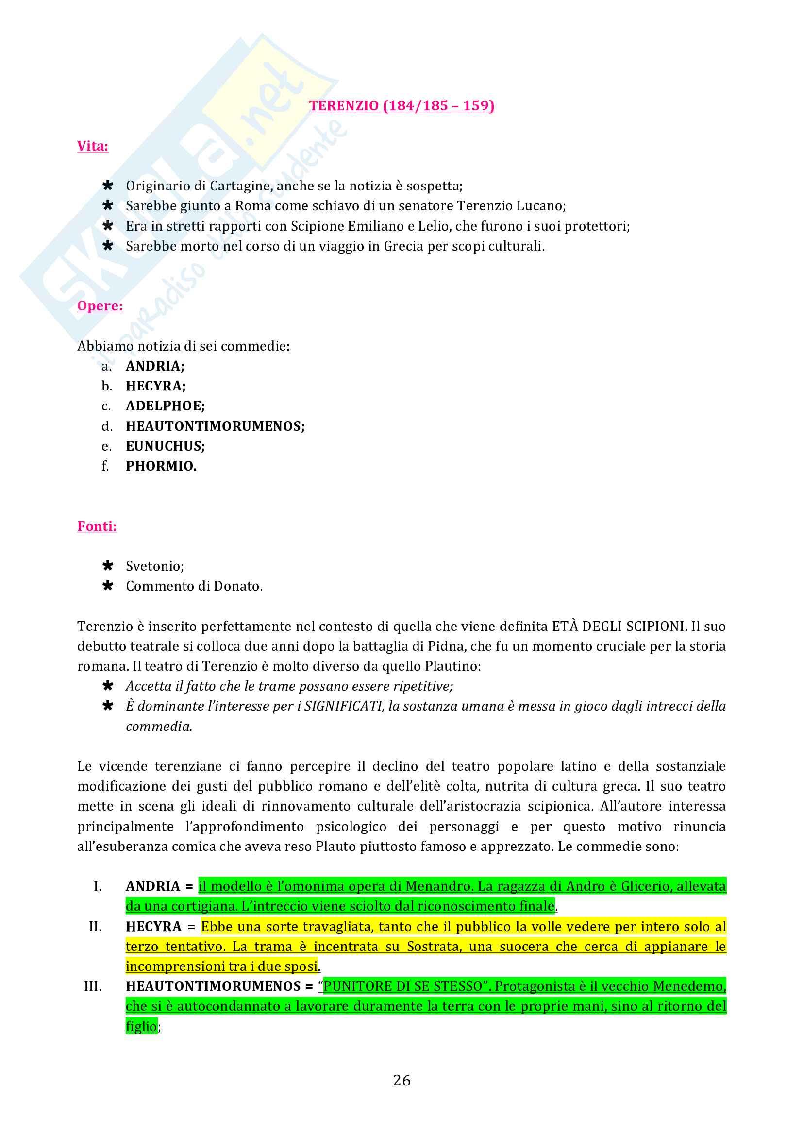 Riassunto esame Letteratura Latina, prof. Cristante, libro consigliato Storia e Testi della Letteratura Latina, Conte, Pianezzola Pag. 26