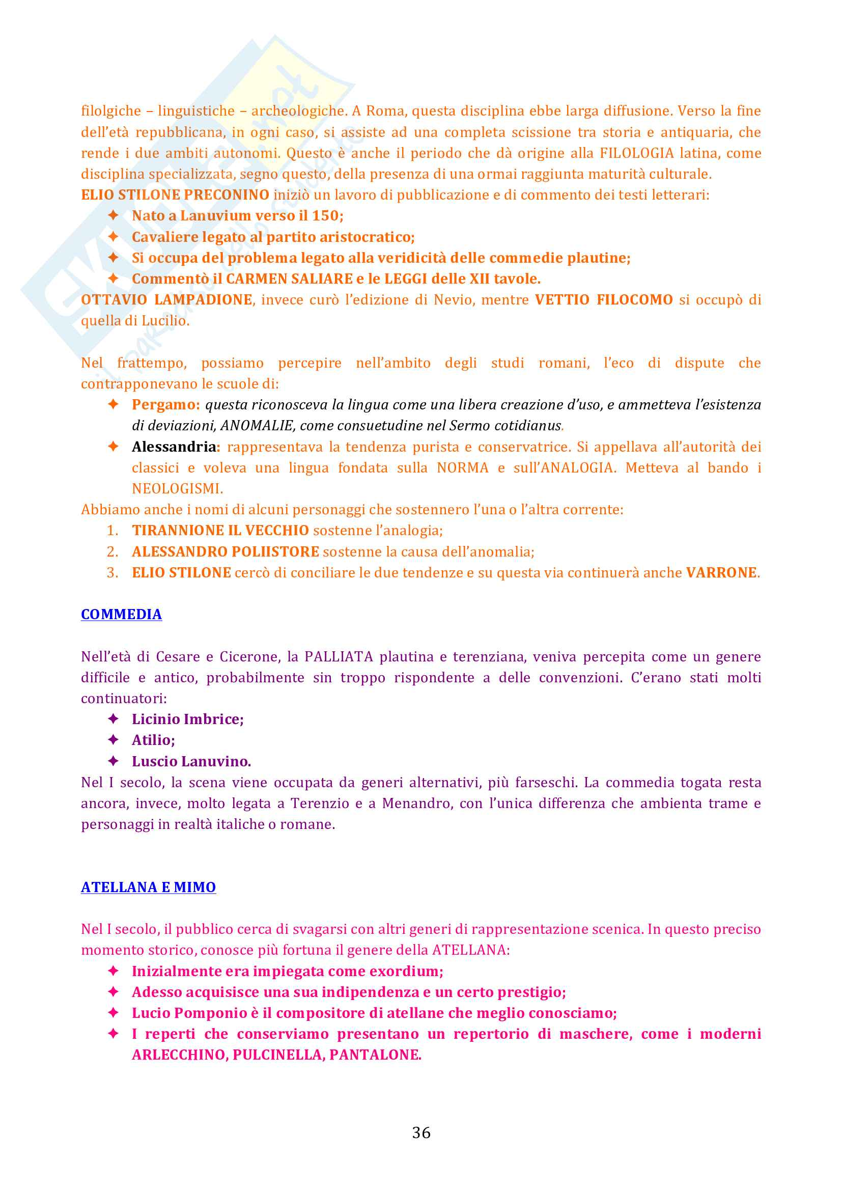 Riassunto esame Letteratura Latina, prof. Cristante, libro consigliato Storia e Testi della Letteratura Latina, Conte, Pianezzola Pag. 36