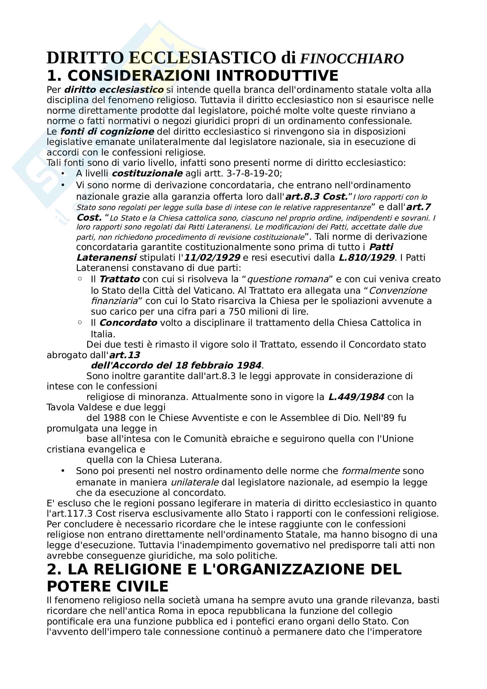 Riassunto esame Diritto Ecclesiastico, prof.Ventrella, libro consigliato Manuale di diritto ecclesiastico,  Finocchiaro